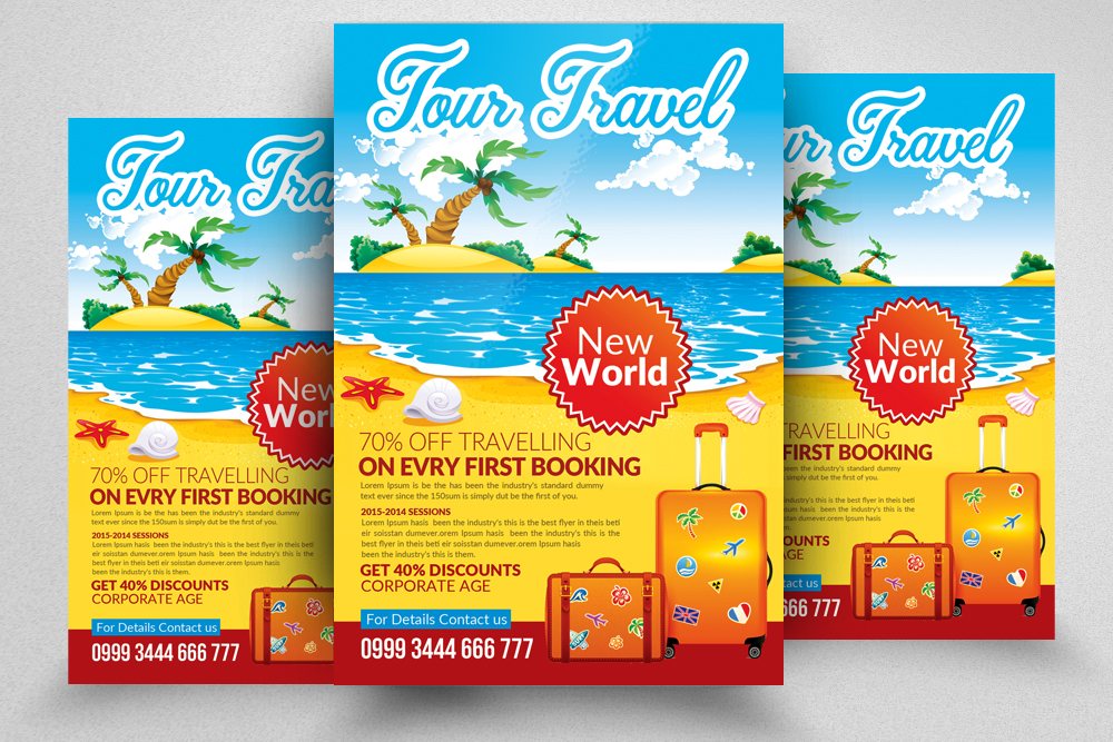 10 Tour Travel Agency Flyer Template Bundle example image 10