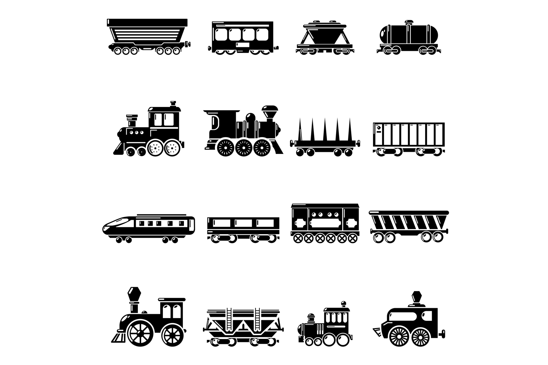 Railway carriage icons set, simple style example image 1