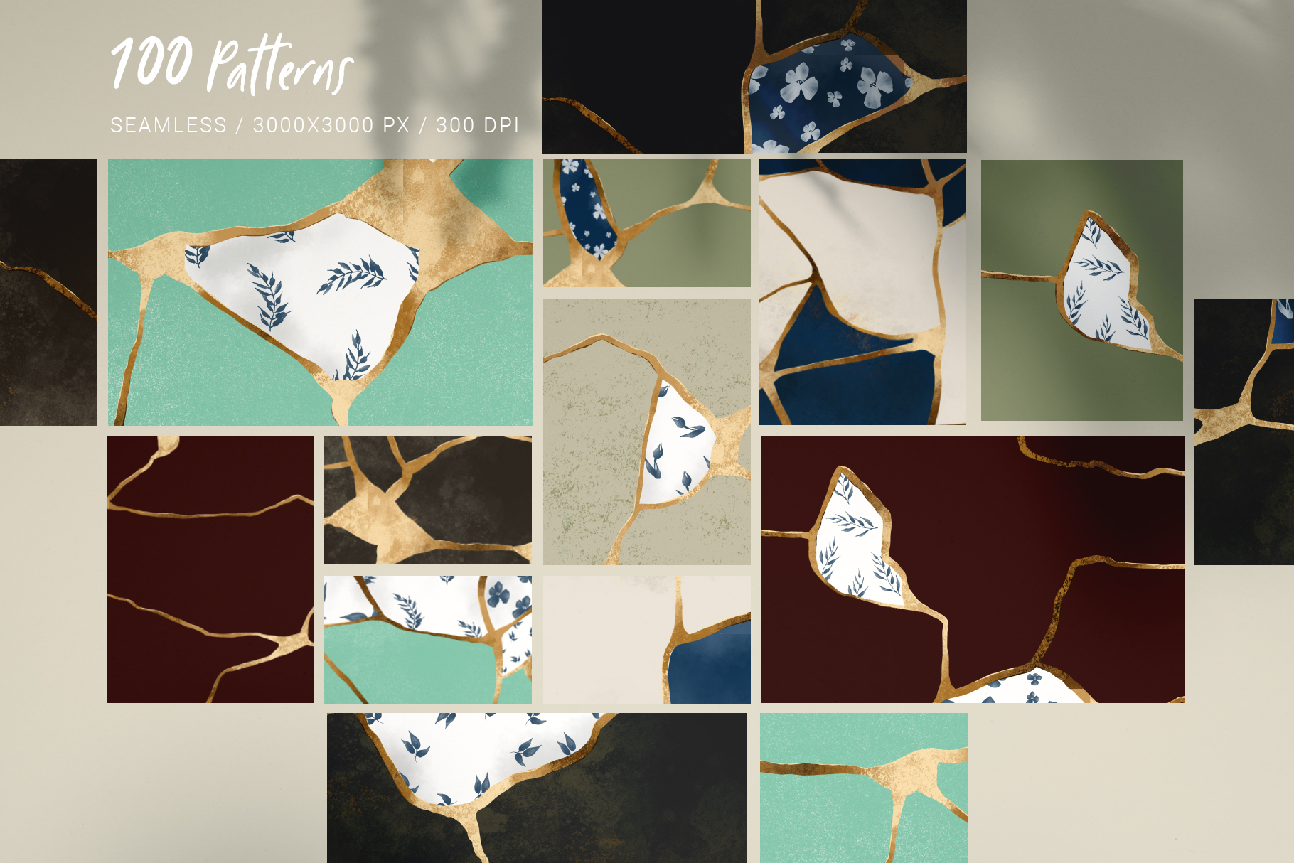 Kintsugi seamless pattern set example image 5