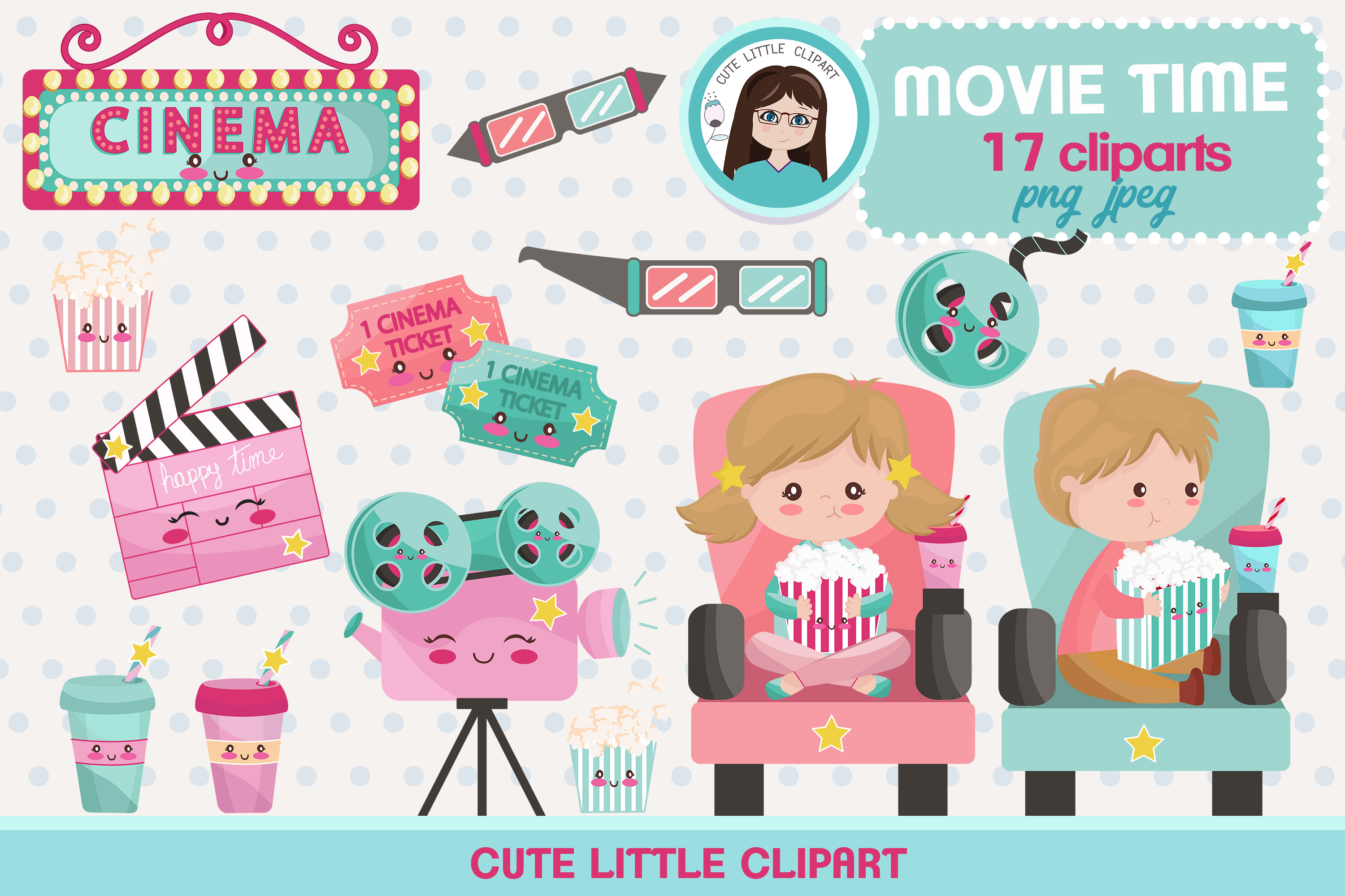 Movie kawaii. Time clipart