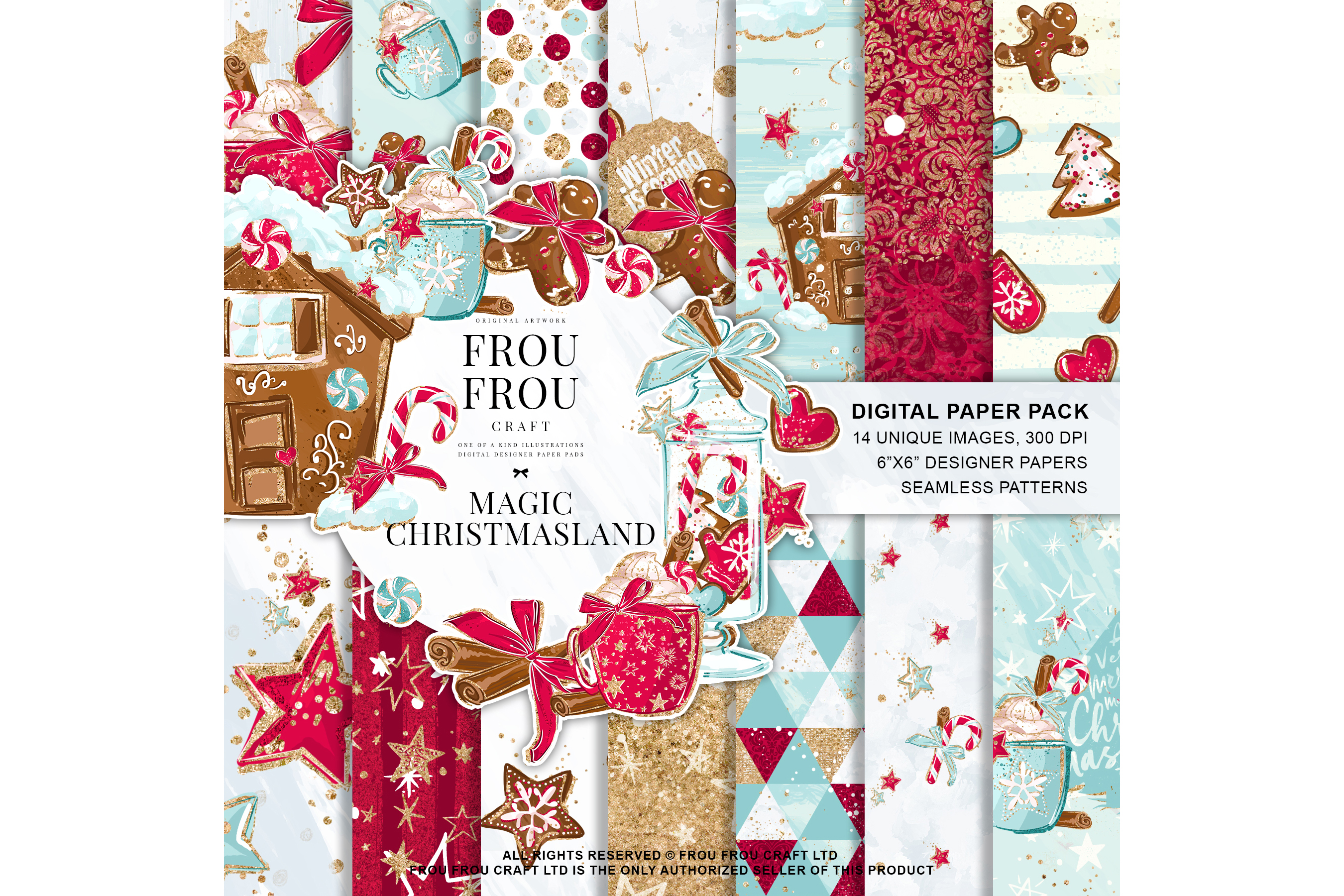 Christmas Winter Ginger Bread Sugar Cane Paper Pack example image 1