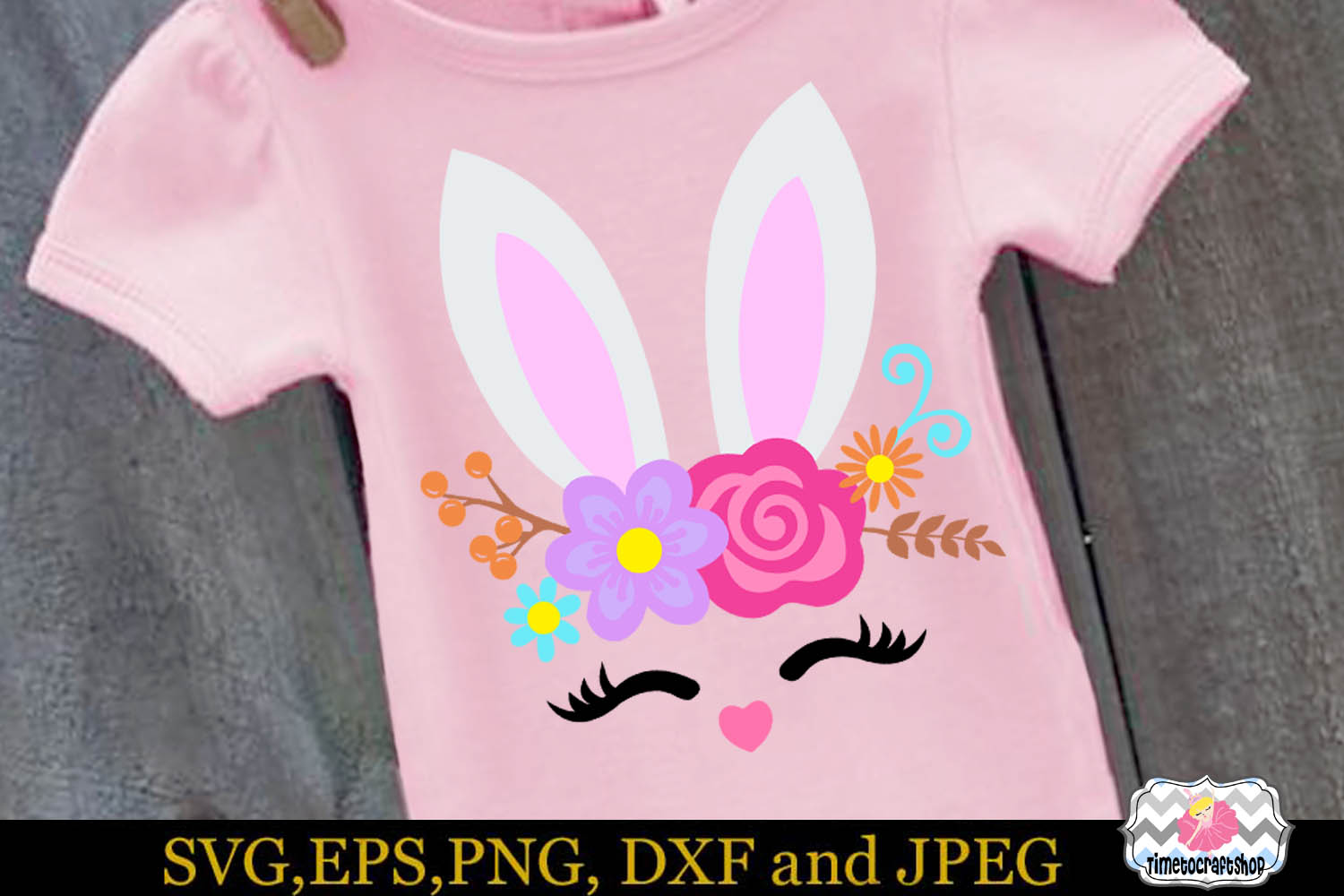 SVG, Dxf, Eps & Png Easter Bunny Smiling Face, Bunny Roses example image 1