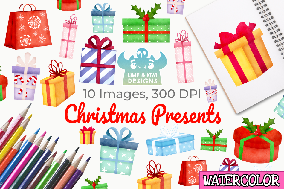 Christmas Presents Watercolor Clipart, Instant Download example image 1