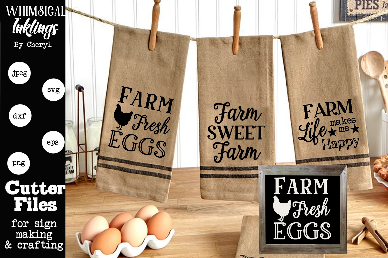Farm Life Makes Me Happy SVG Set Of 3 example image 1