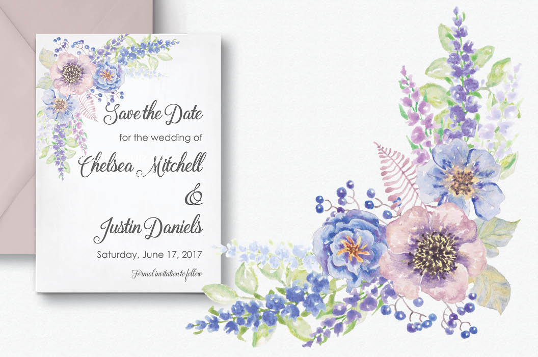 Watercolor border of Delphinium flowers example image 5