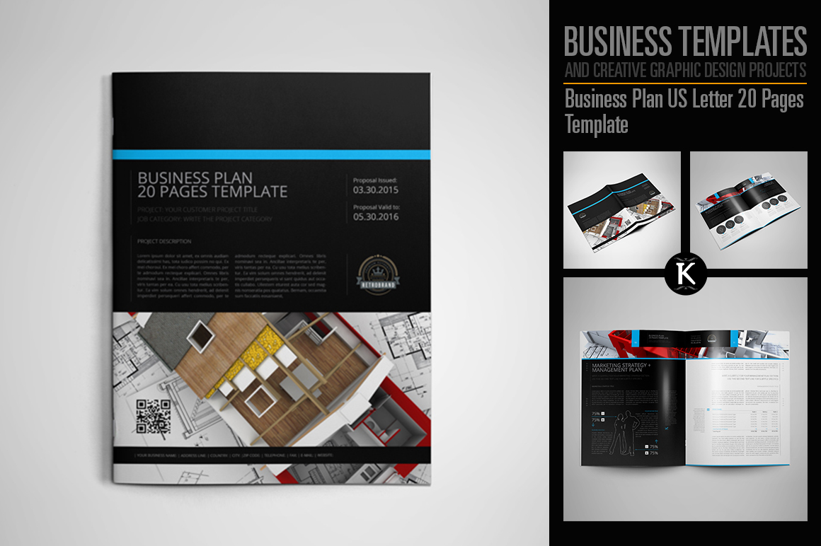 Business Plan US Letter 20 Pages Template example image 1