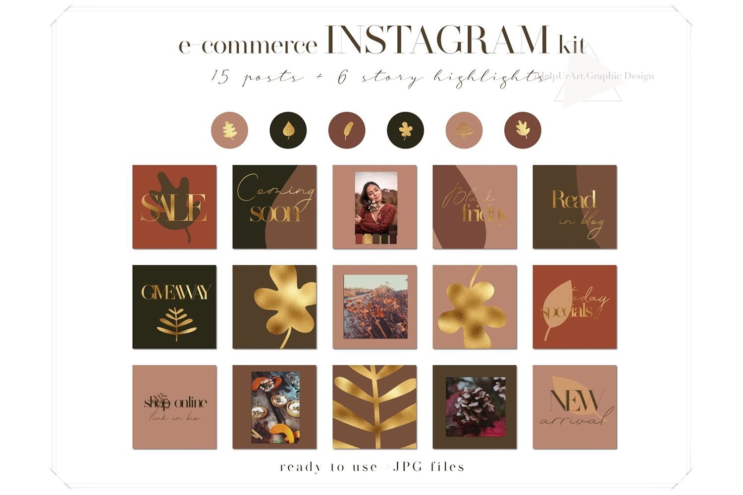 Instagram Posts Pack - Terracotta and Gold example image 1