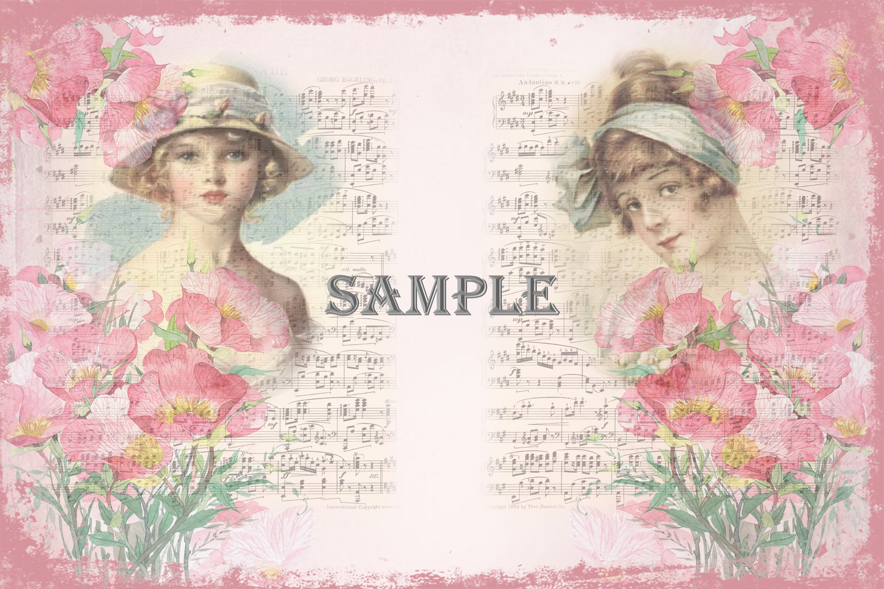 Vintage Ladies Backgrounds, Collage or Journal Sheets, A4 example image 6