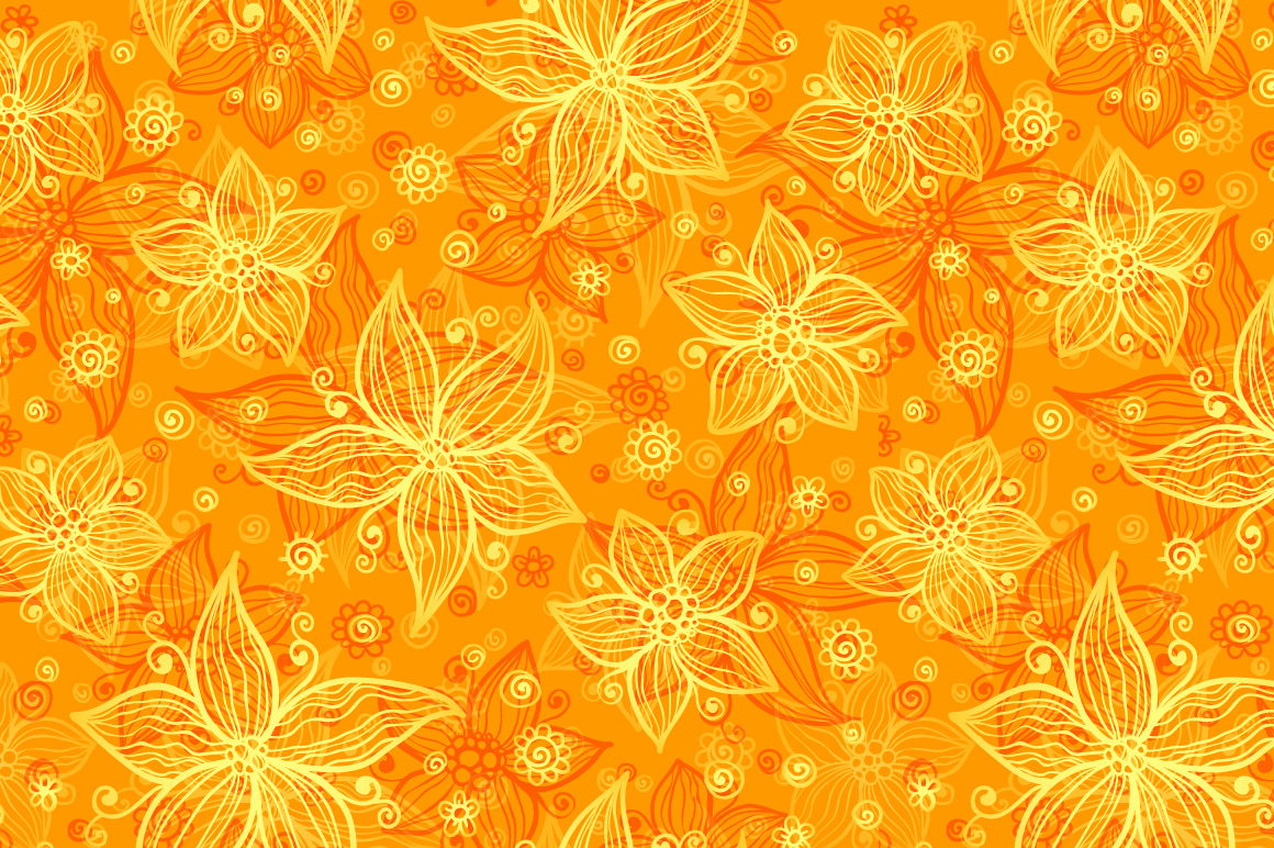 12 vector flowers seamless patterns example image 2