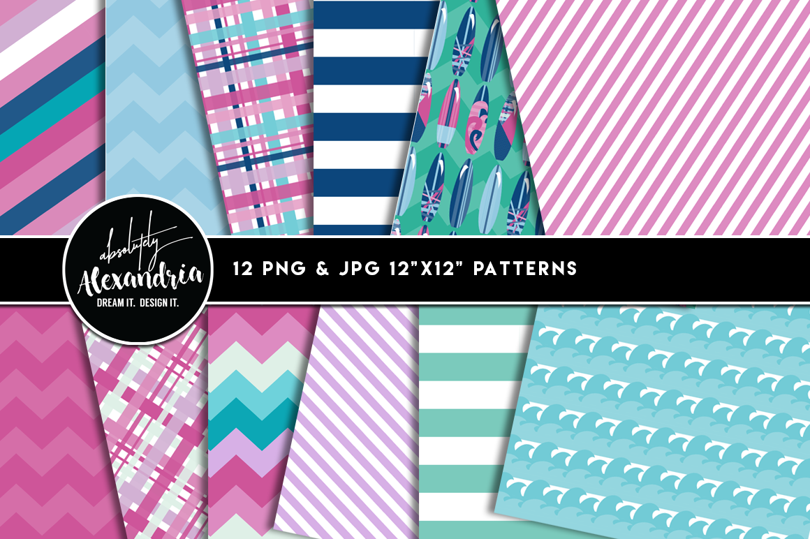 Surfer Girl Clipart Graphics & Digital Paper Patterns Bundle example image 2
