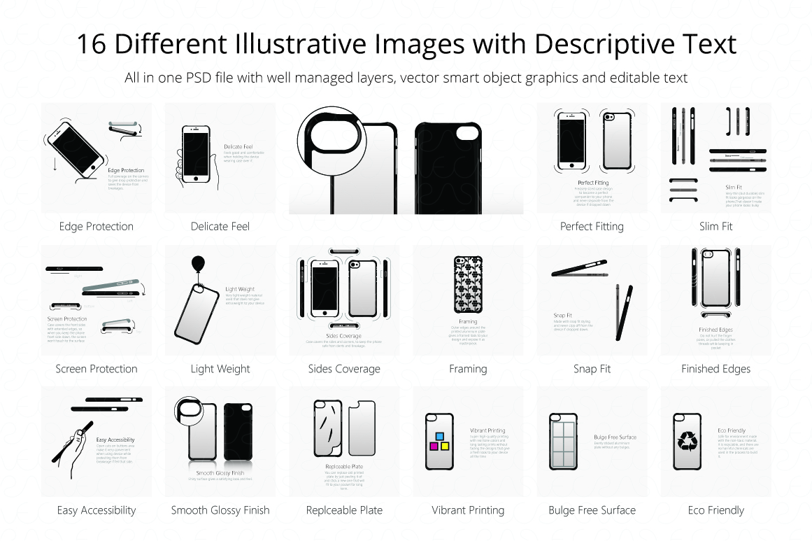 2D PC Colored  Case Features Illustrations Pack 1 example image 2