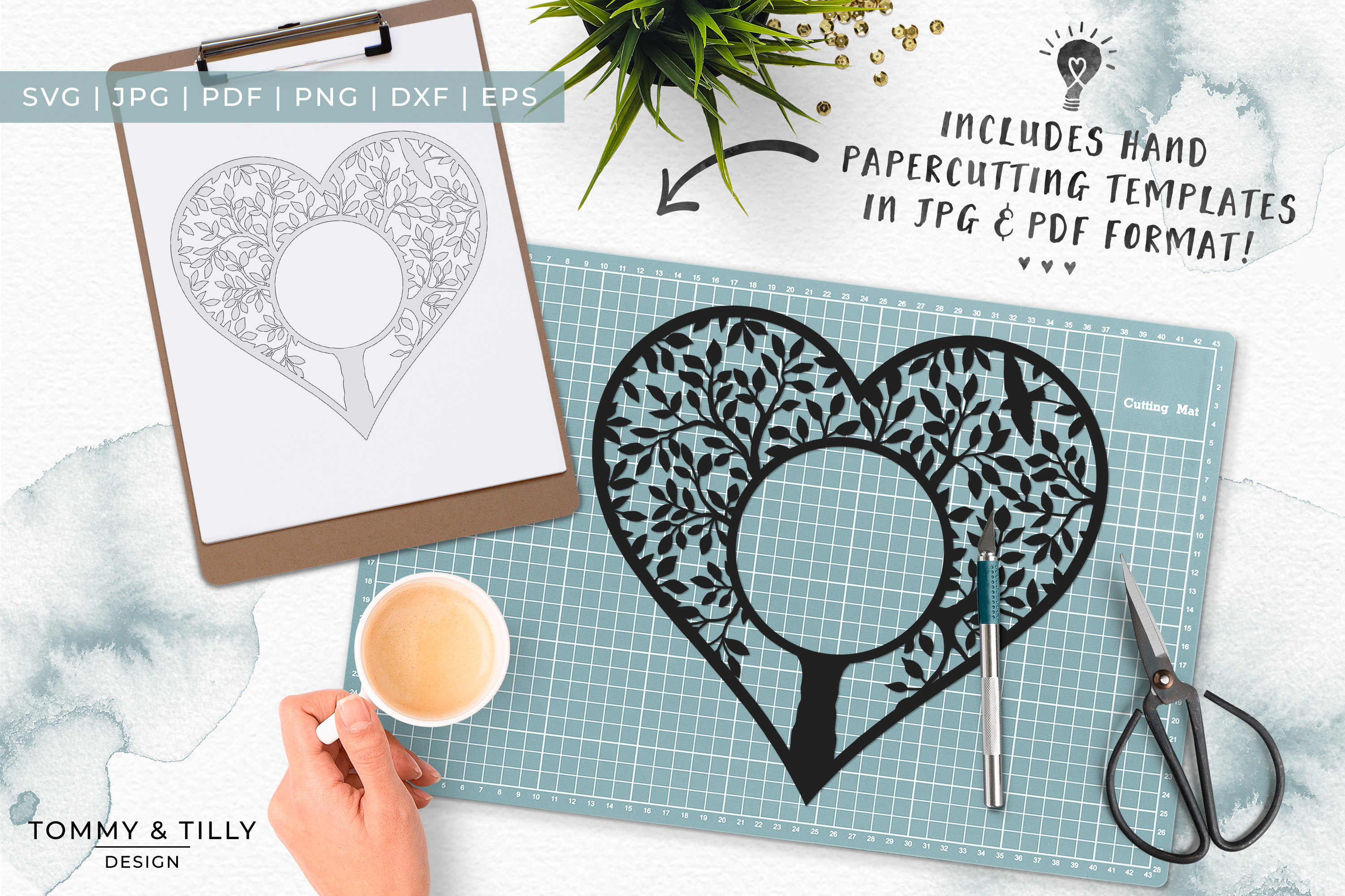 Monogram Heart Tree x 3 - Papercut Template SVG EPS DXF PNG example image 4