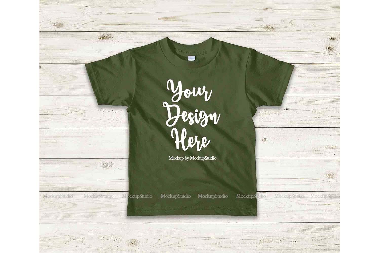 Kids Olive Tshirt Mockup, Toddler Shirt Flat Lay Mock example image 1