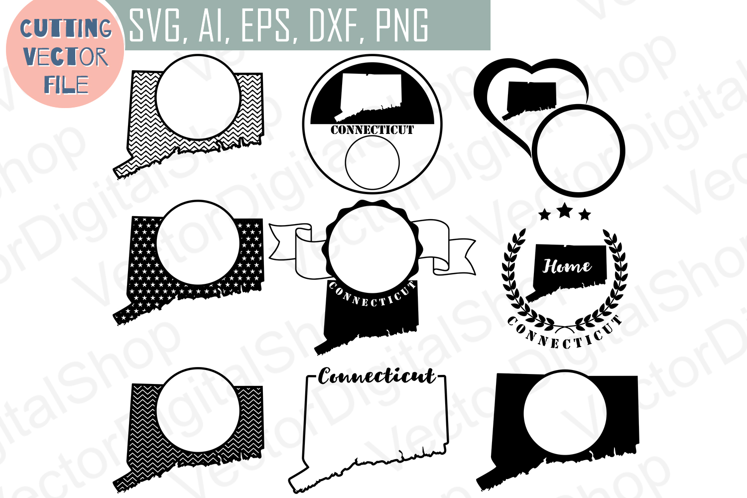 8 Monograms with Connecticut State - cutting files, SVG, PNG, JPG, EPS, AI, DXF example image 1