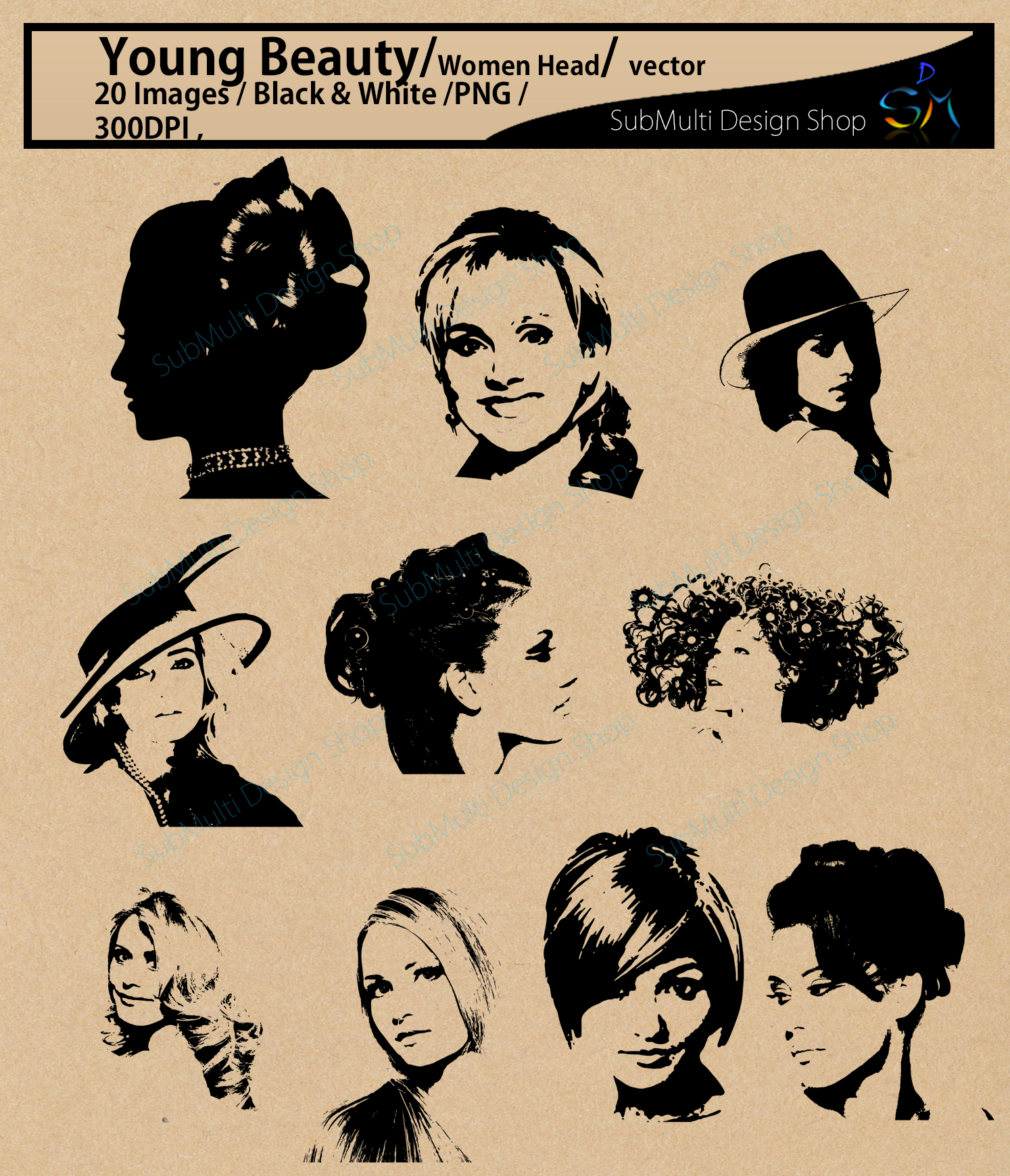 women silhouette / head /women head svg / Scrapbooking / Cardmaking / EPS / SVG / Png /dxf / Updated version example image 2