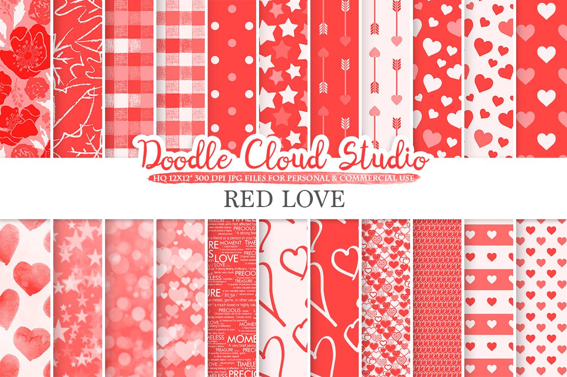 Red Romantic digital paper, Valentine's day patterns, Love Roses Romance Heart Scarlet background Instant Download Personal & Commercial Use example image 1