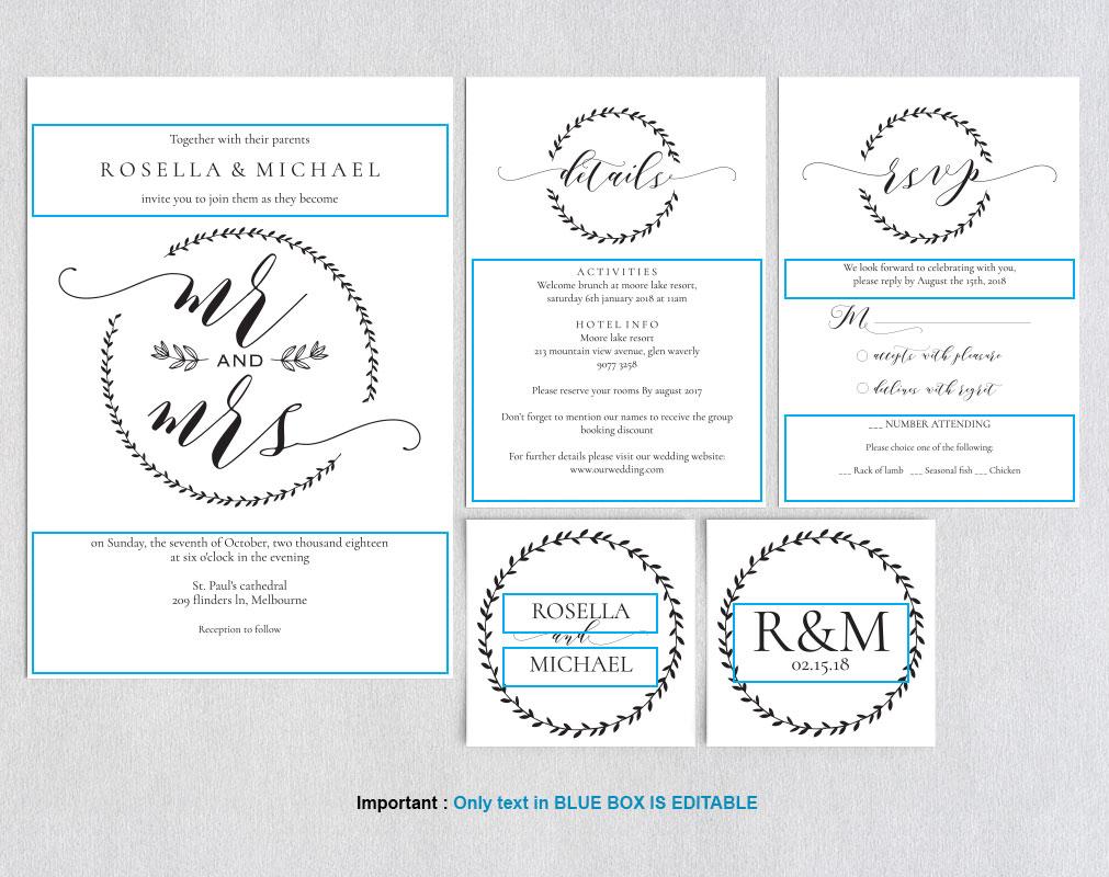 Wedding invitation set potrait, TOS_9 example image 3