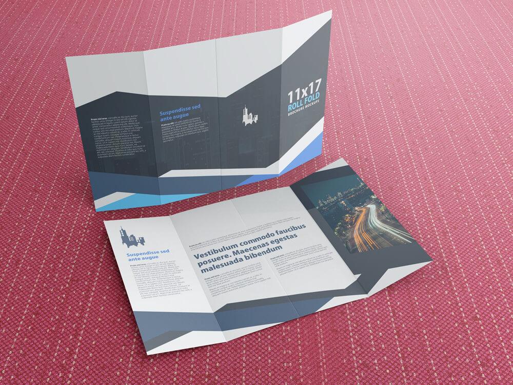 11x17 Four Panel Roll Fold Brochure Mockup example image 4