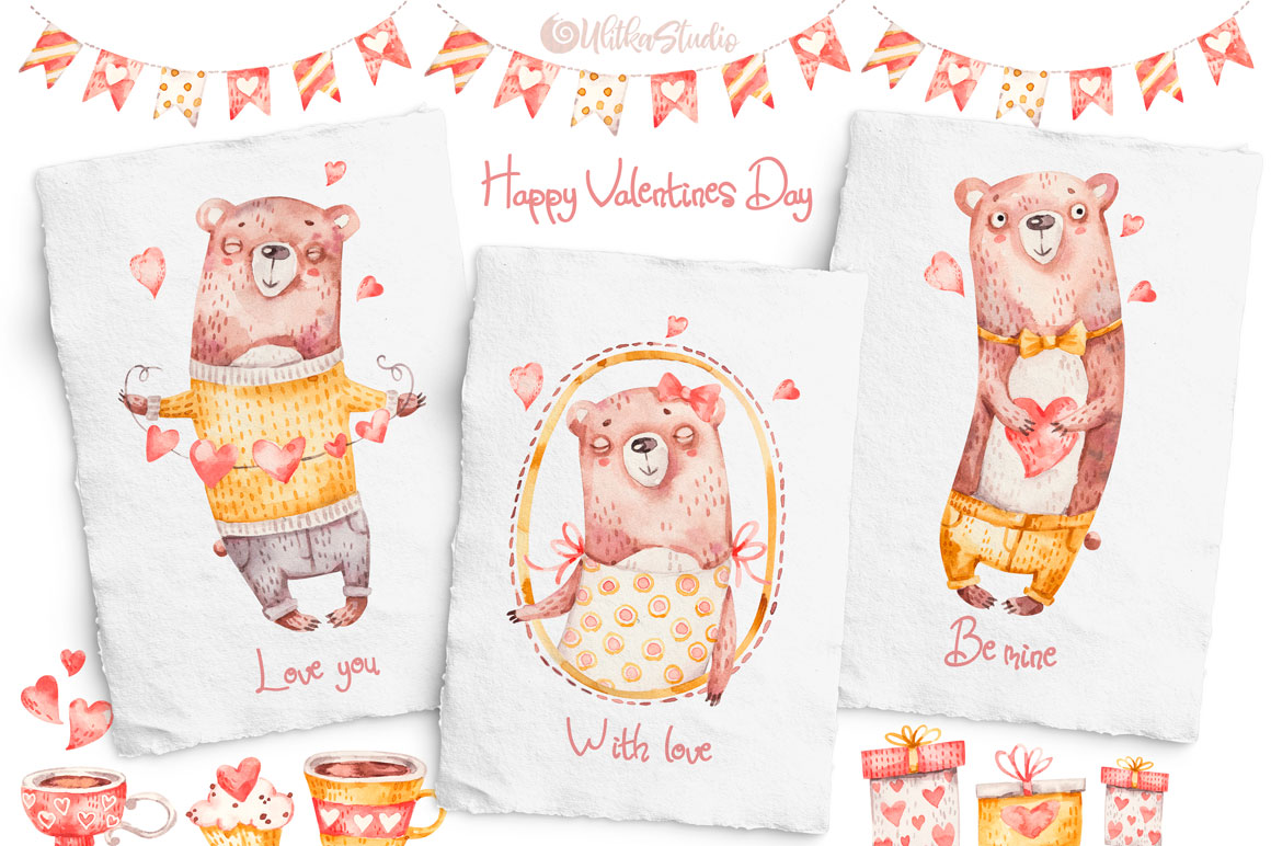 Cozy Valentines Day. Lovely bears watercolor collection example image 12