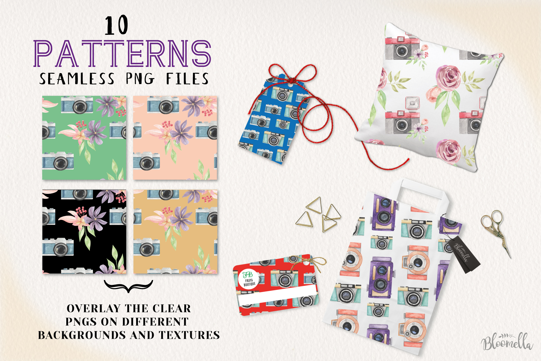 Camera Seamless Patterns Digital Papers Watercolor Photo example image 3