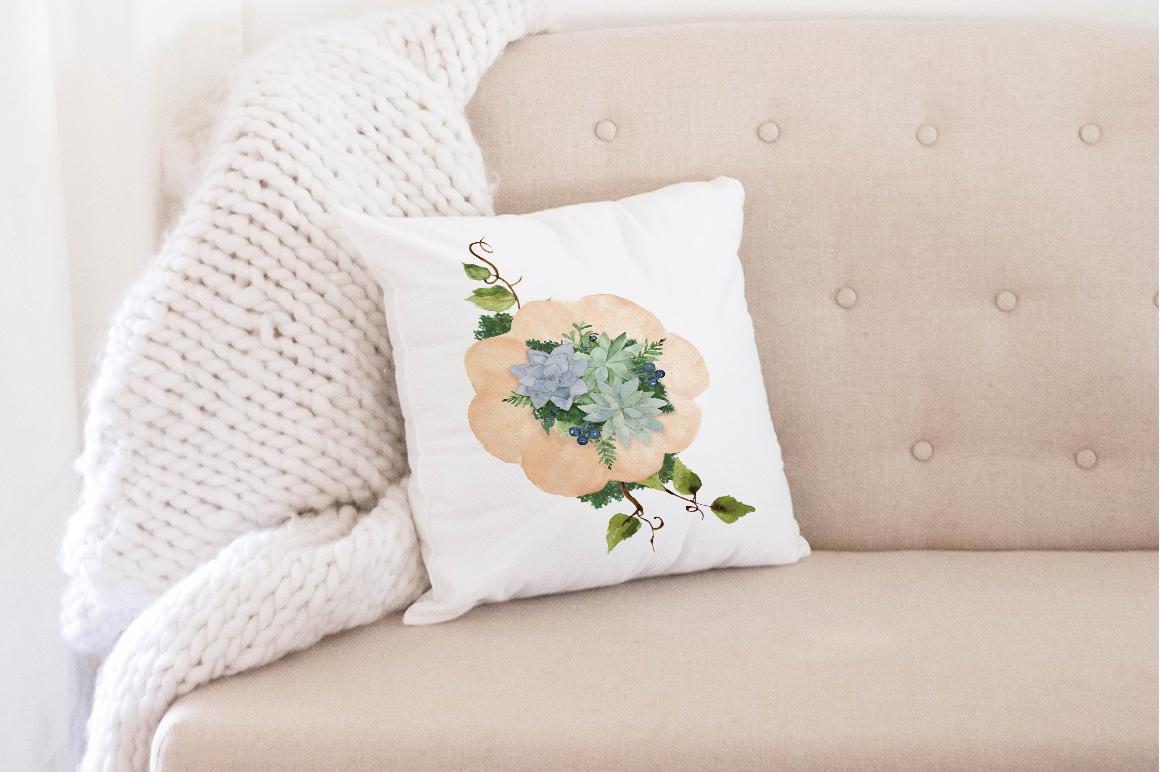 pumpkin and succulent watercolor arrangement clip art PNG example image 4