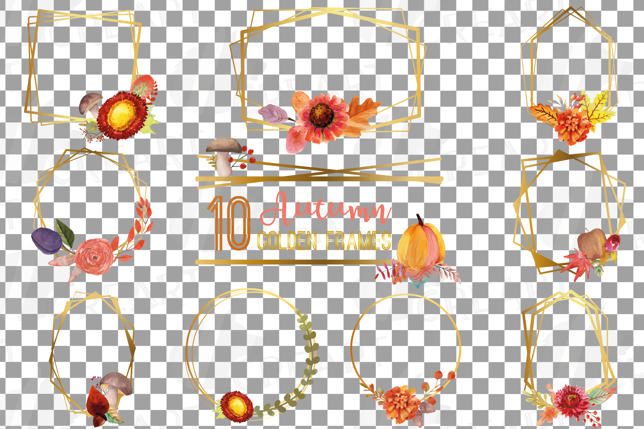Watercolor elegant autumn geometric golden frame templates. example image 3