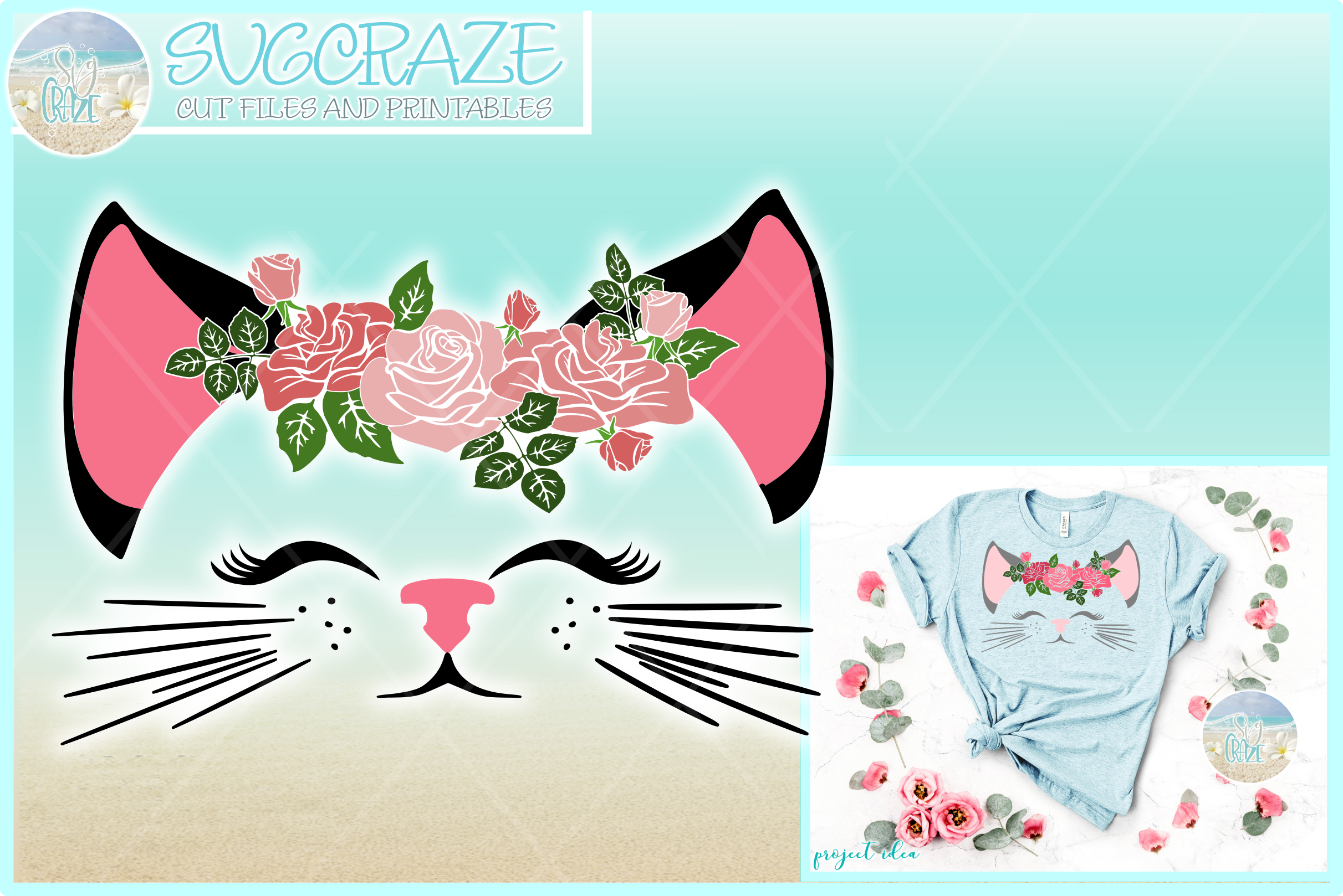 Cat Face With Roses Svg Dxf Eps Png Pdf Files example image 1