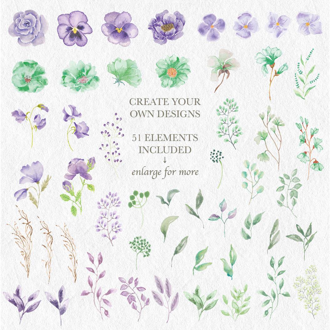 'Violet and Mint': watercolor clip art bundle example image 8