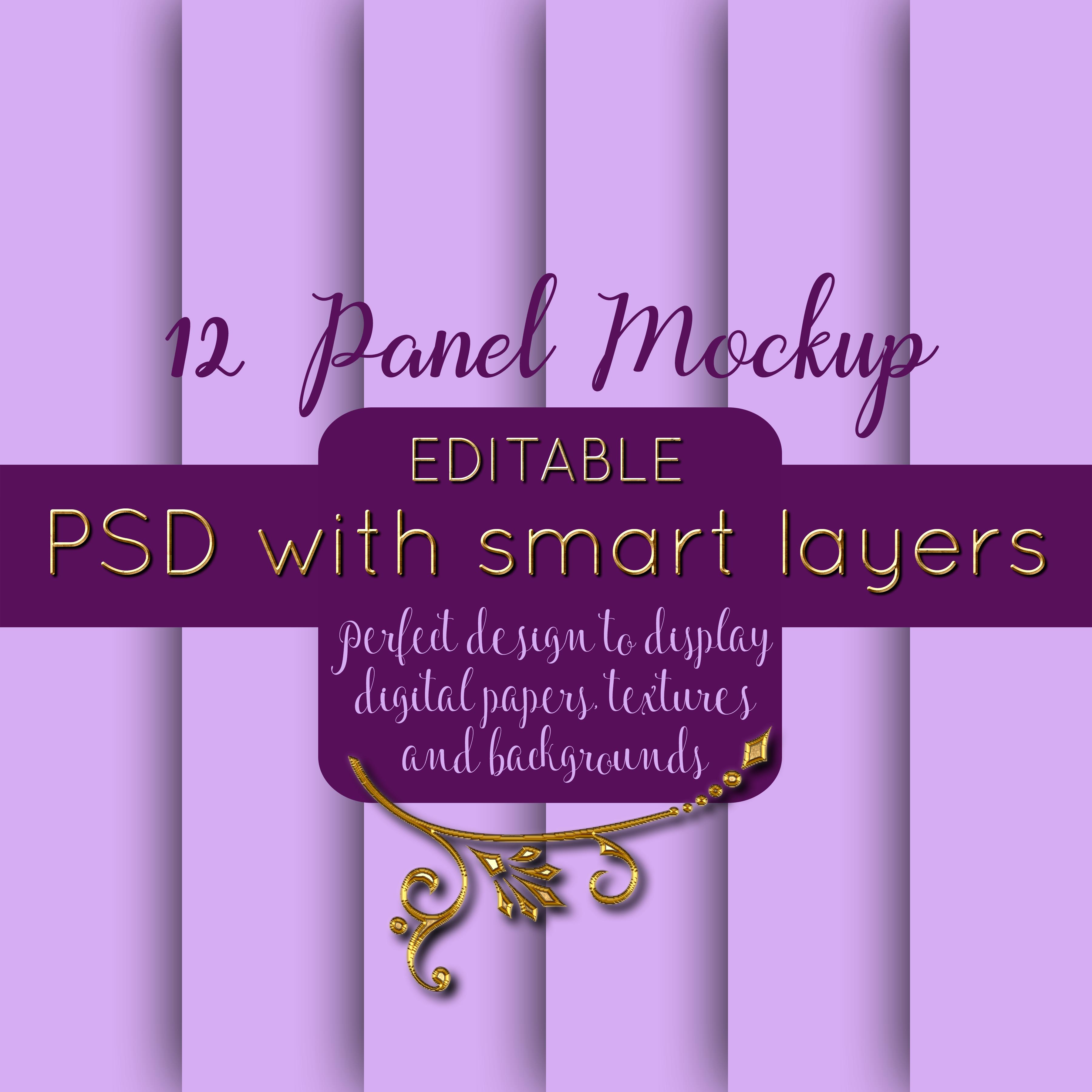 12 Panel Mockup for Digital Papers, Textures & Backgrounds example image 1