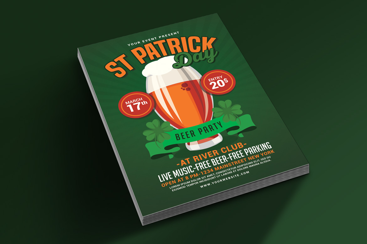 St Patricks Day Beer Party Flyer example image 2