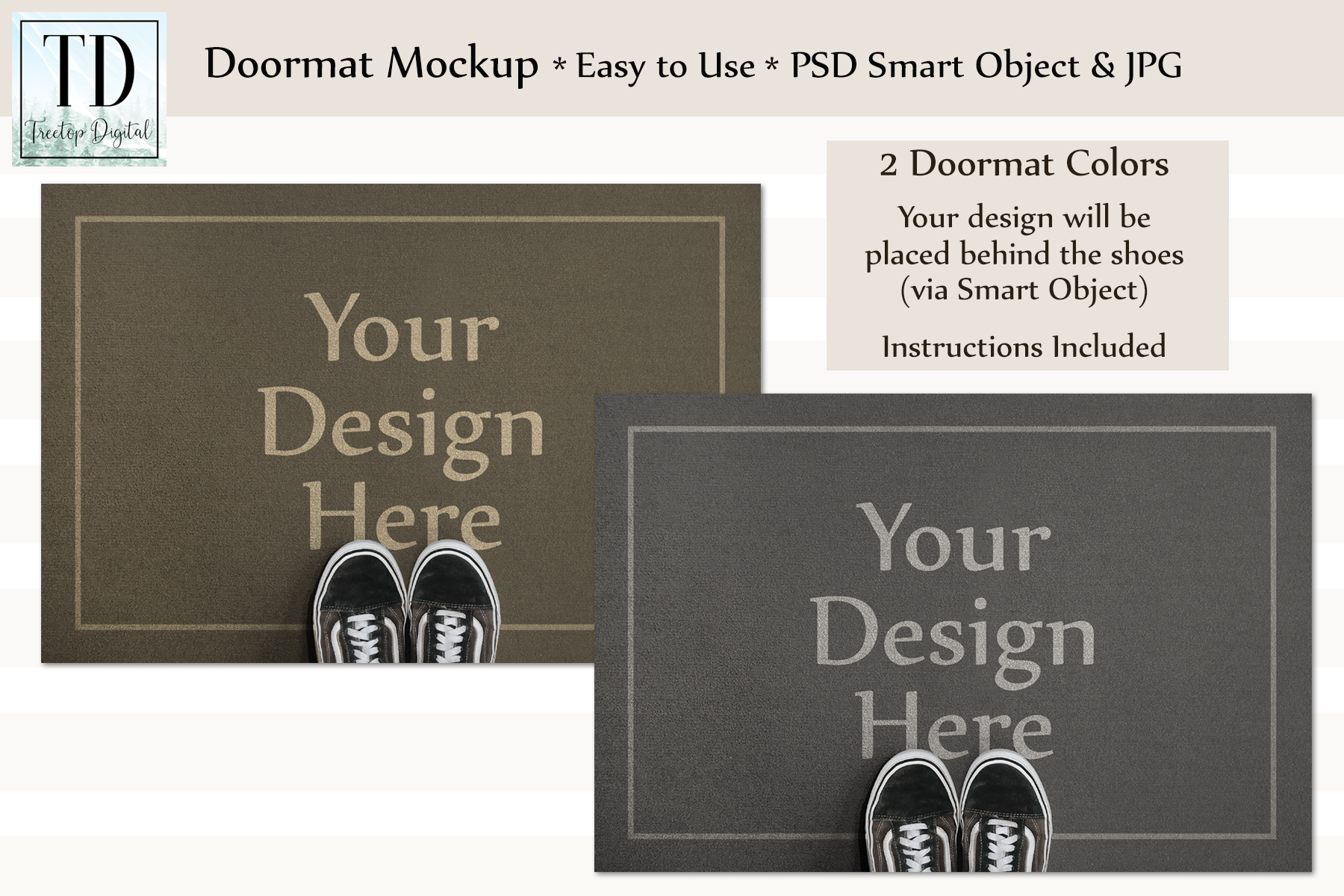 Doormat Mockup, Welcome Mat Mock Up, PSD, Smart Object & JPG example image 1