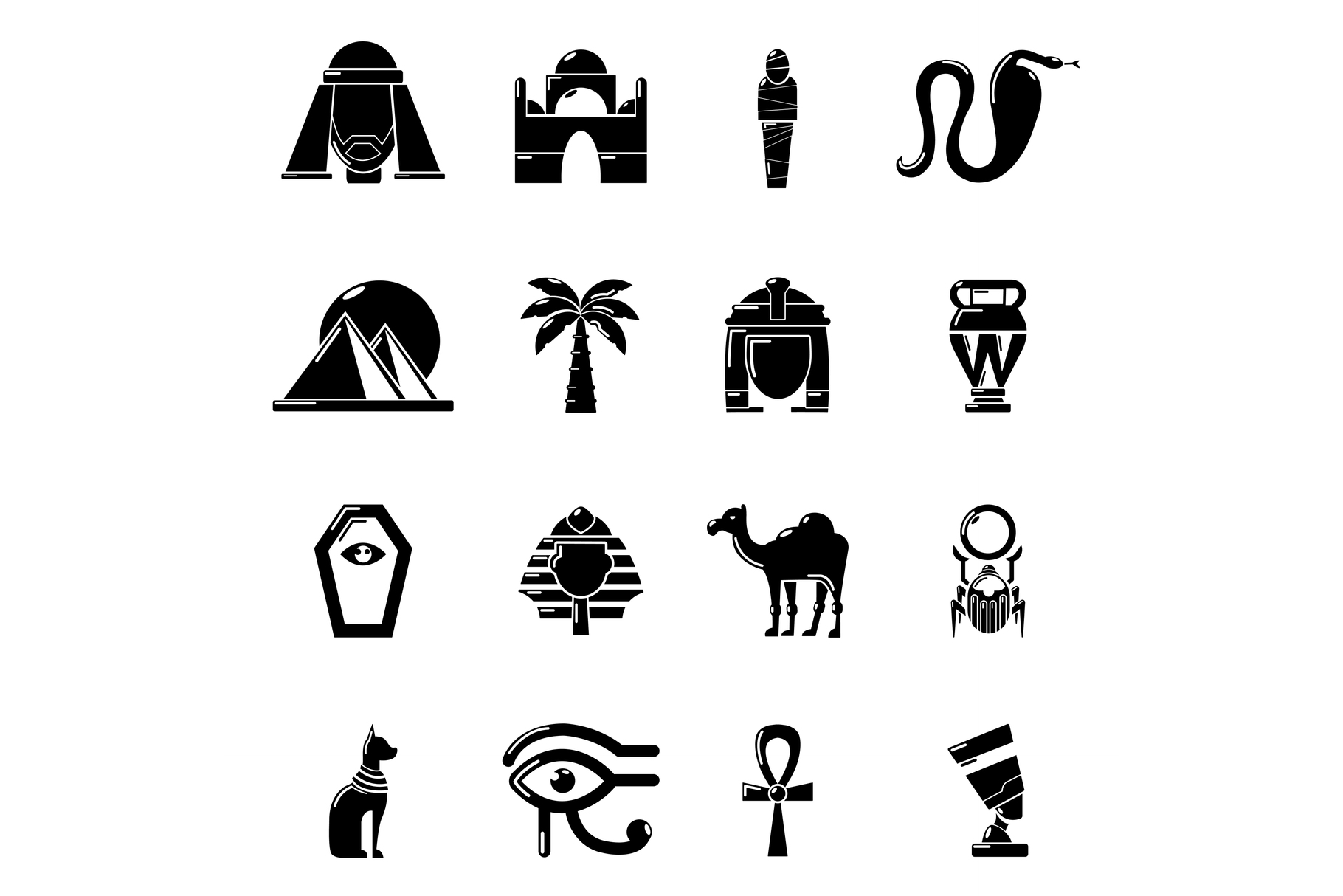 Egypt travel icons set, simple style example image 1