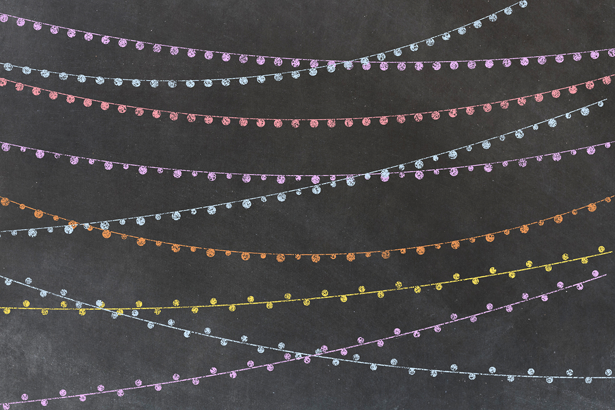 Chalkboard String Lights Clipart example image 5