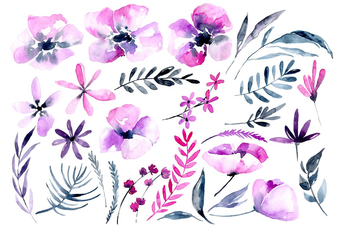 Purple & pink watercolor flowers png example image 2