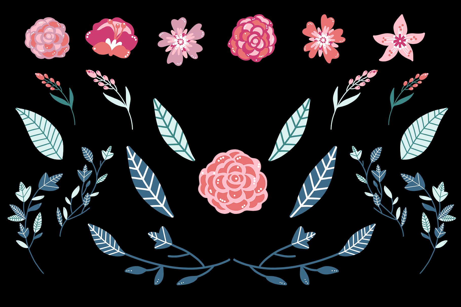 Pink Floral Clip Art, Pink Blush, Bouquets Scrapbooking, PNG example image 4