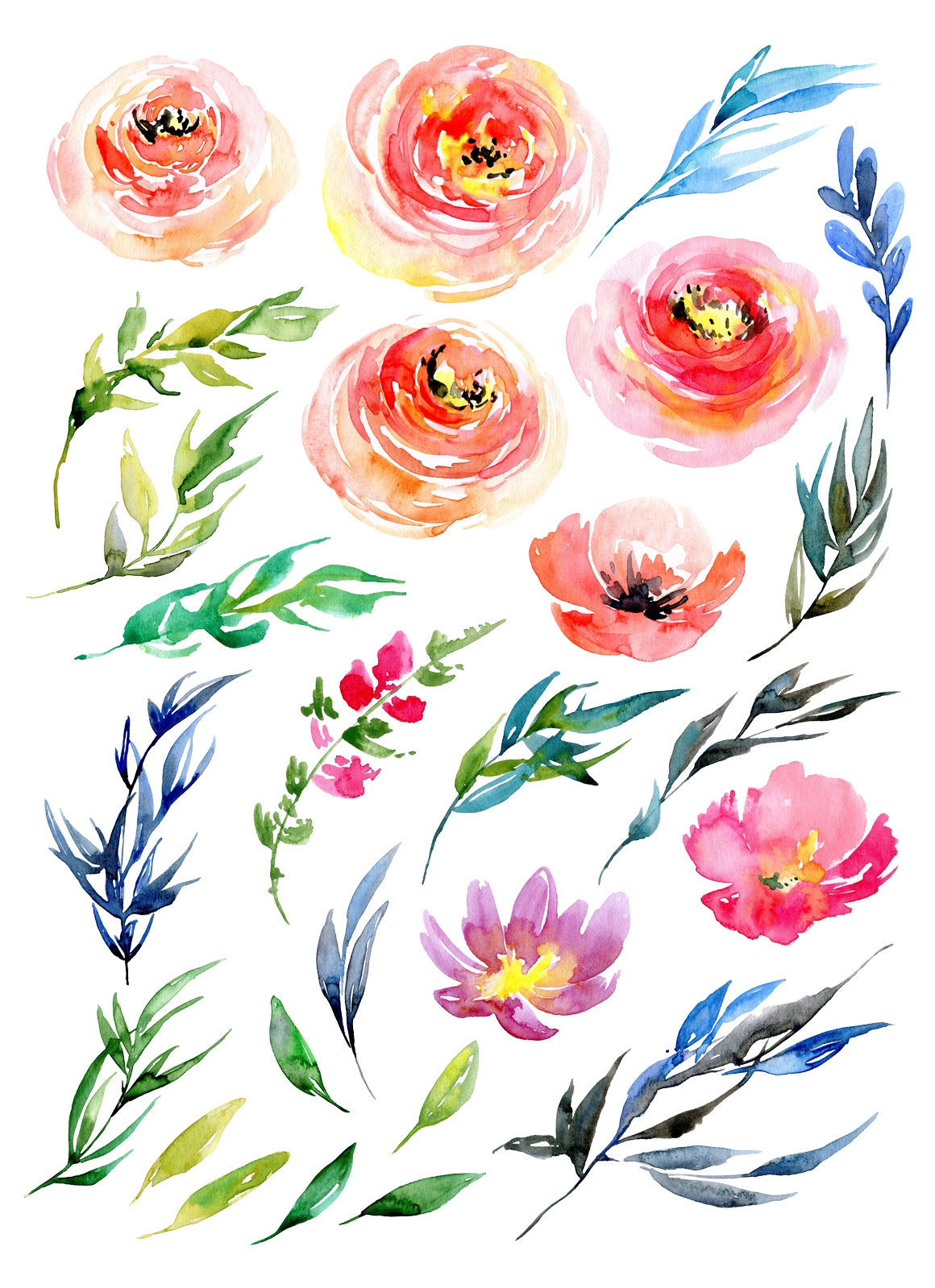 Watercolor flowers collection example image 2