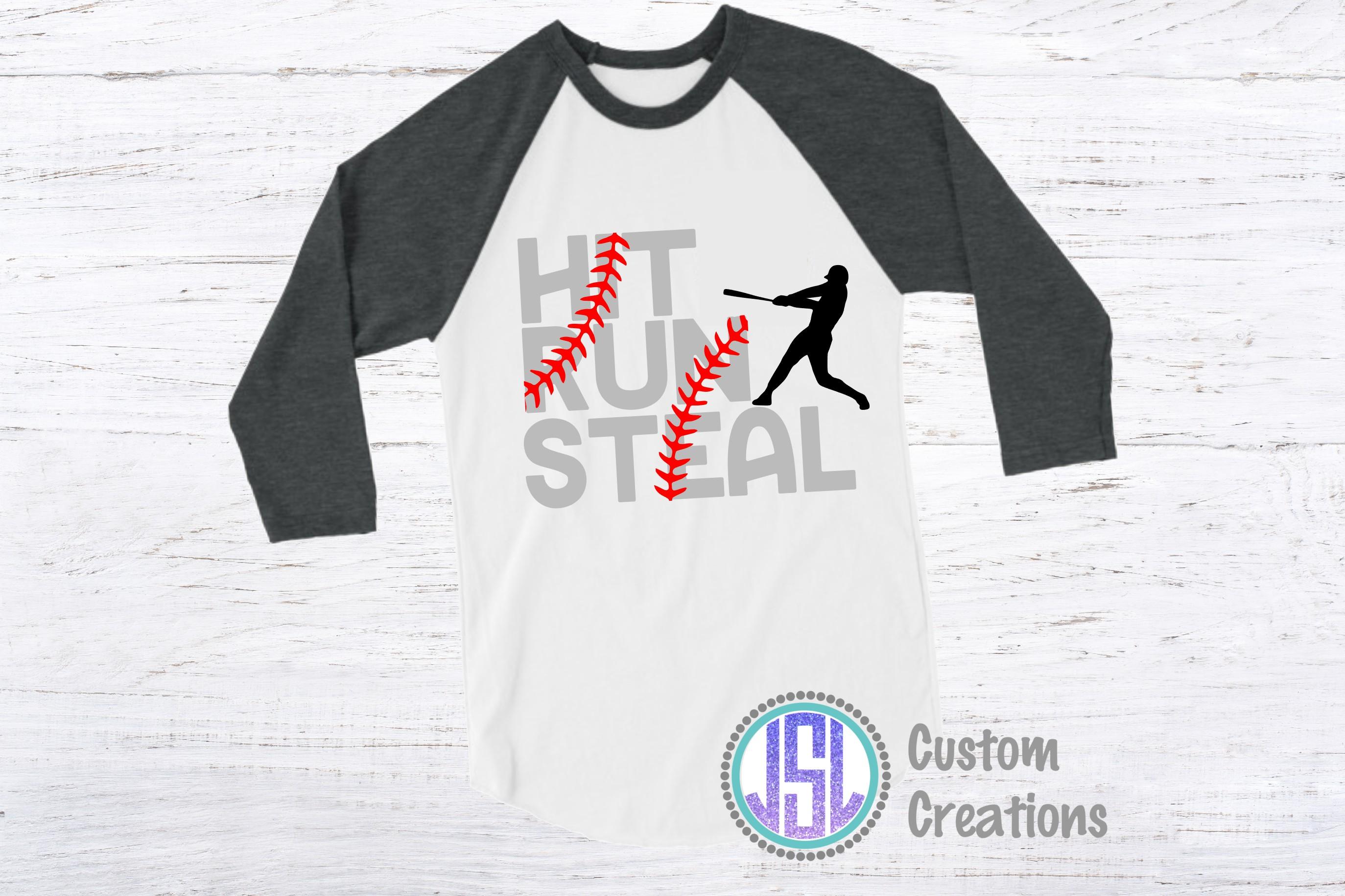 Hit Run Steal   Set of 2 Baseball Bundle  SVG DXF EPS PNG example image 2
