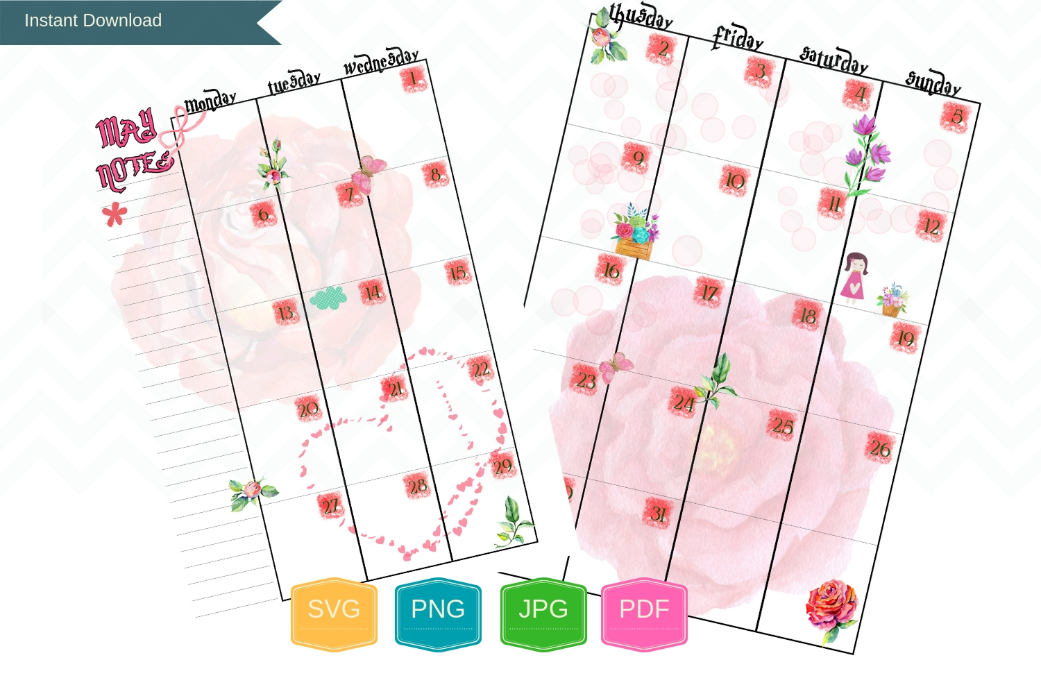Monthly Planner Printable Happy pages, Month Organizer, A5 example image 1