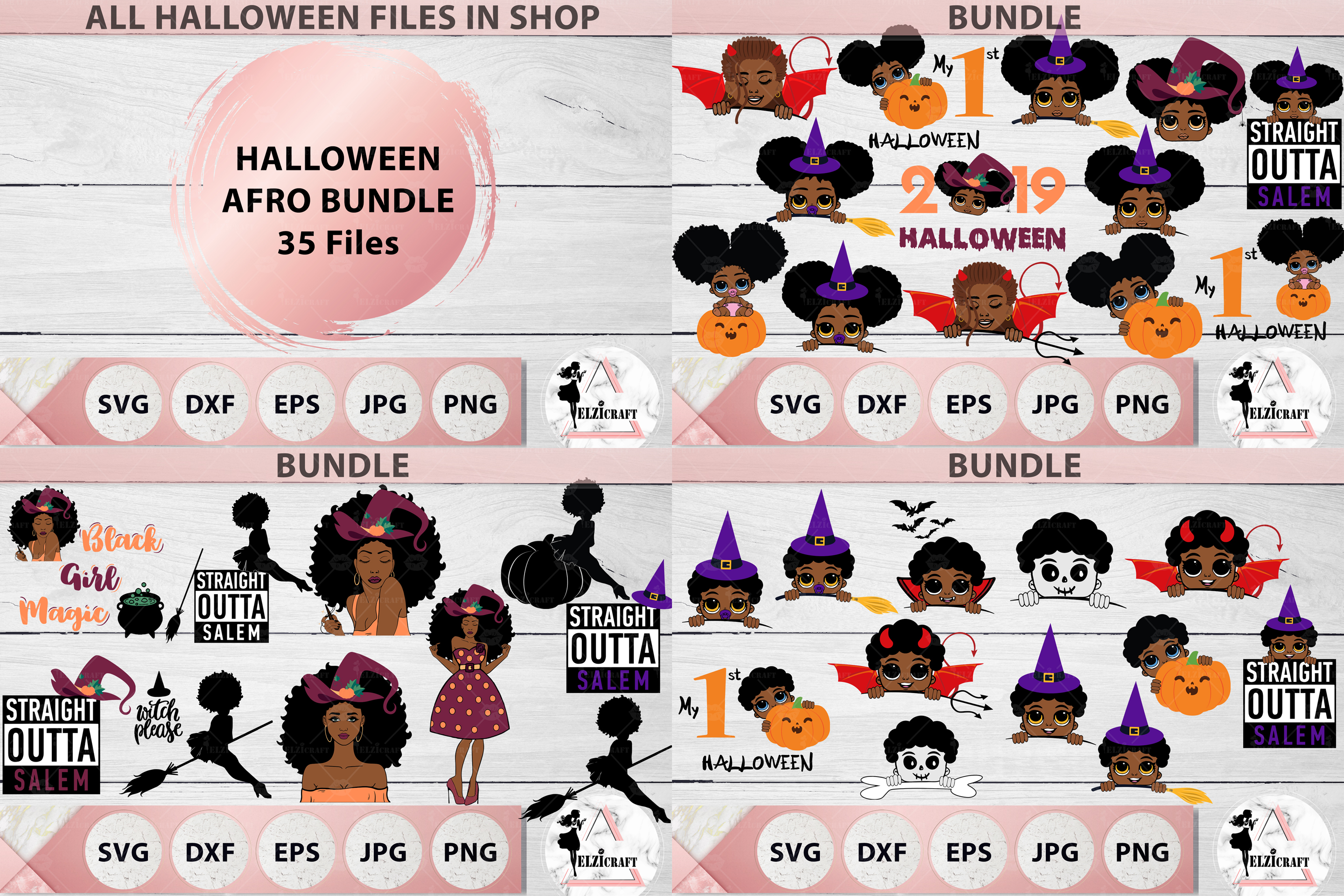 HALLOWEEN AFRO BUNDLE SVG Cut Files example image 1