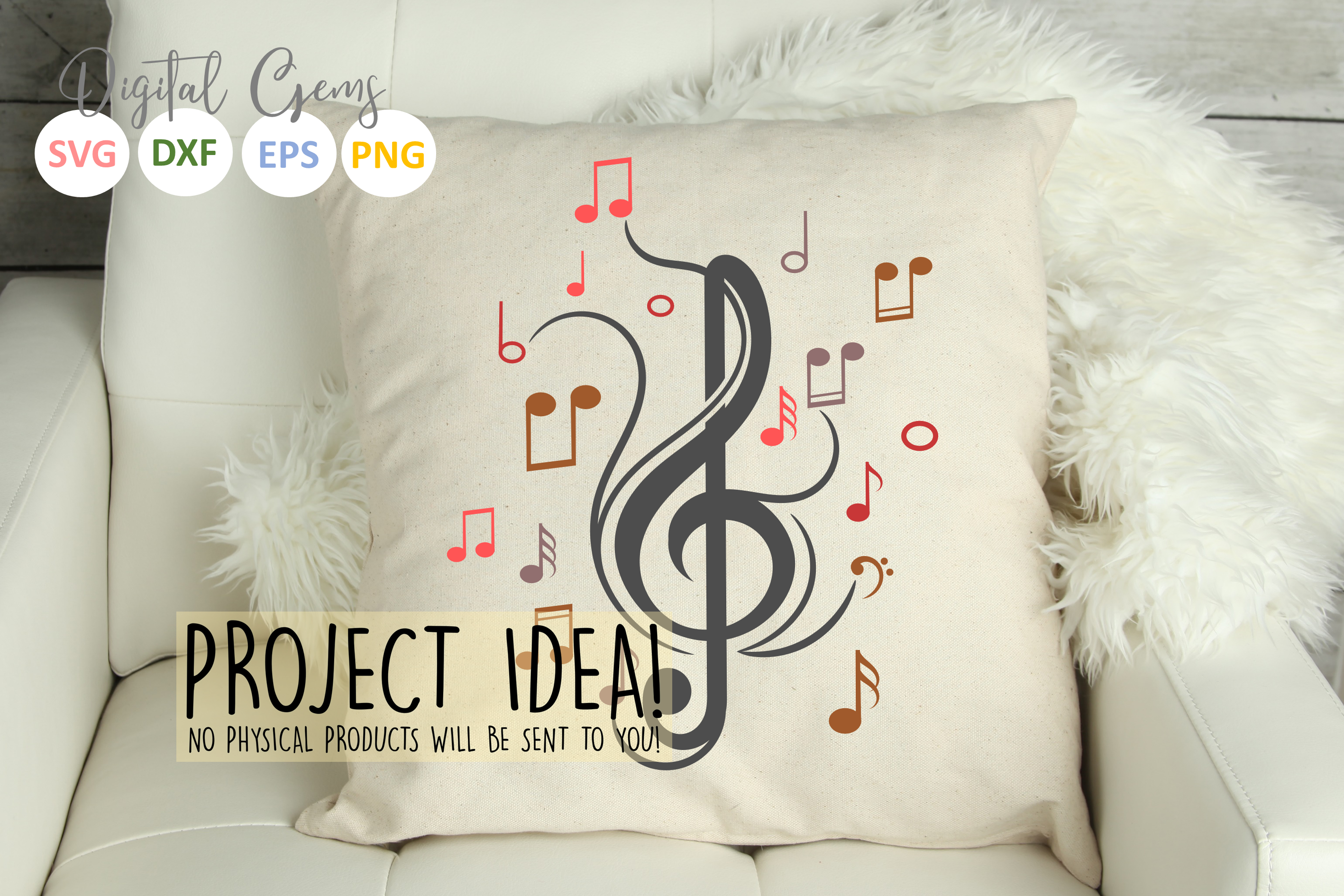 Treble clef with music notes SVG / DXF / EPS / PNG files example image 3
