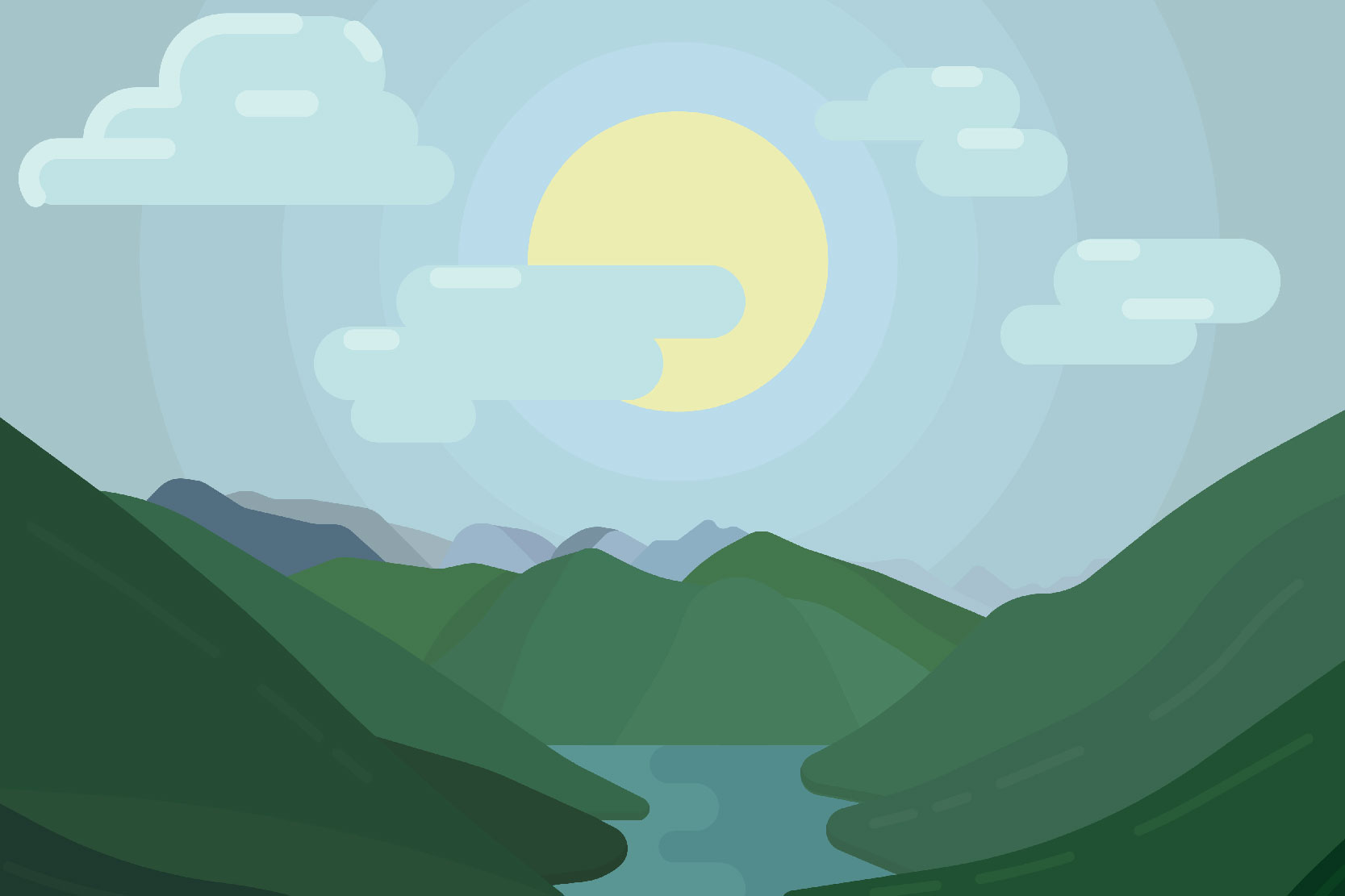 Mountain landscapes - Vector illustrations example image 3