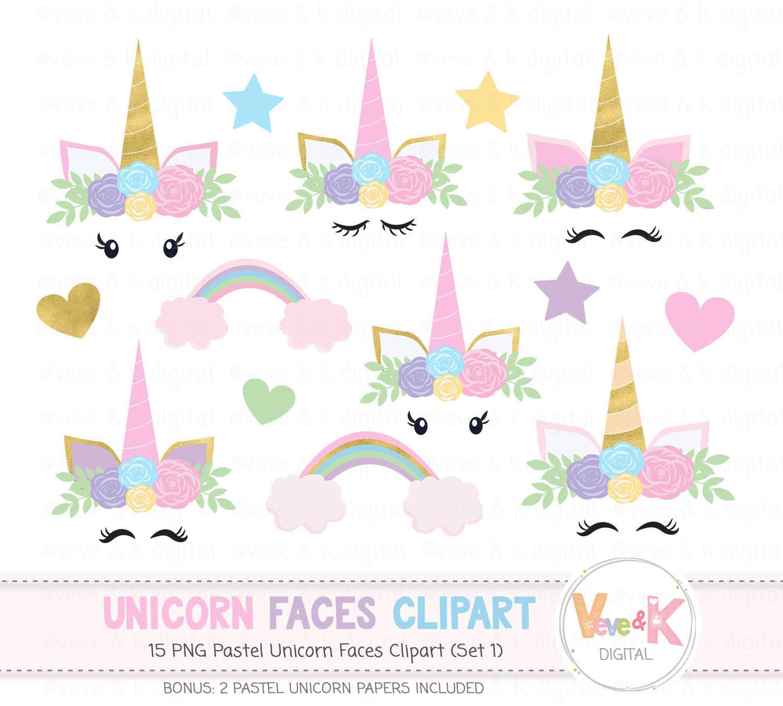 Unicorn Face Clipart, Unicorns Clipart, Gold Glitter ...