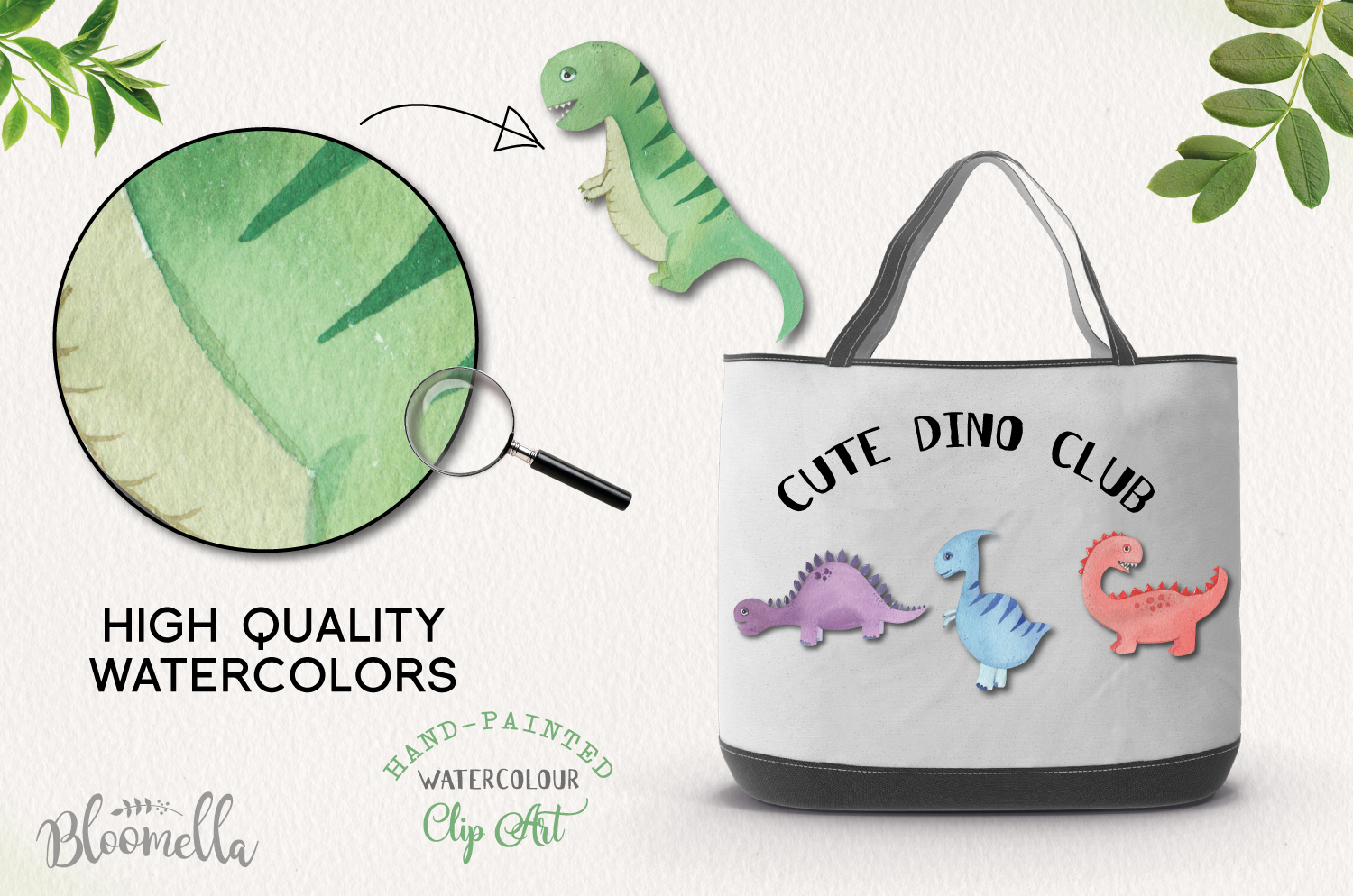 Cute Dinosaur 11 Hand Painted Watercolor Dino Eggs Trex example image 2