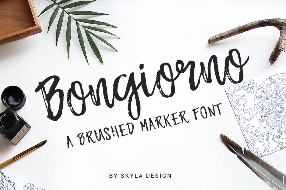 Brush marker font - Bongiorno example image 1