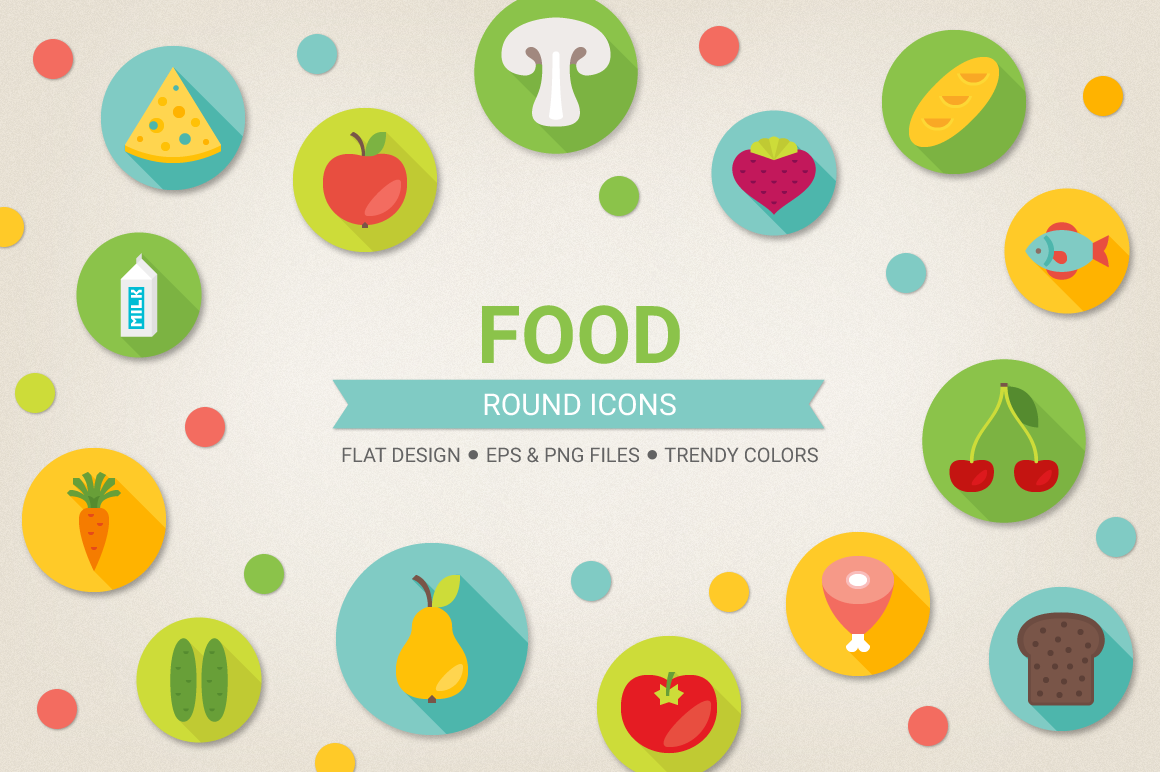 Round Food Icons example image 1