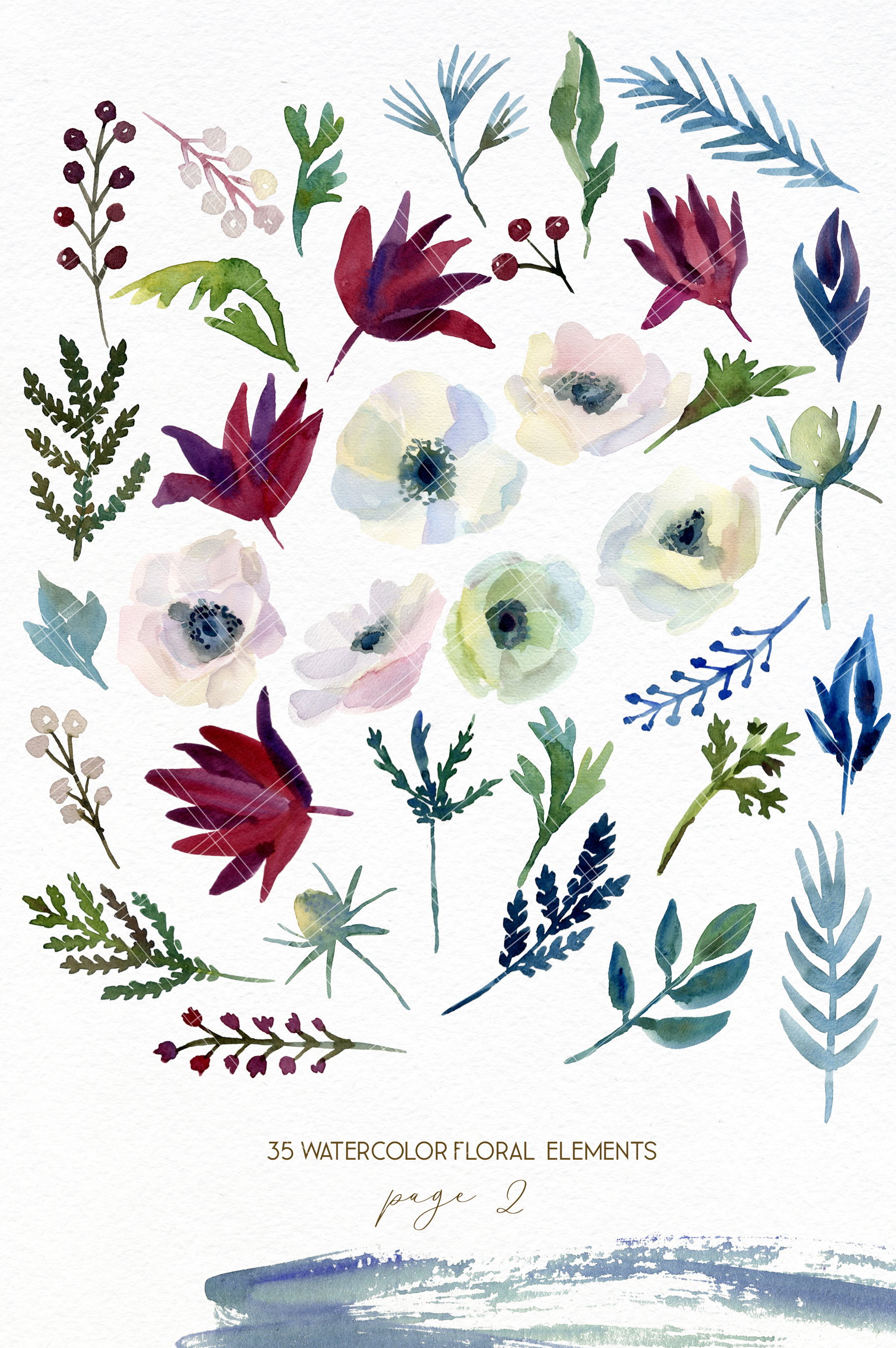 Watercolor forest flowers clipart, fox graphics wedding art example image 3