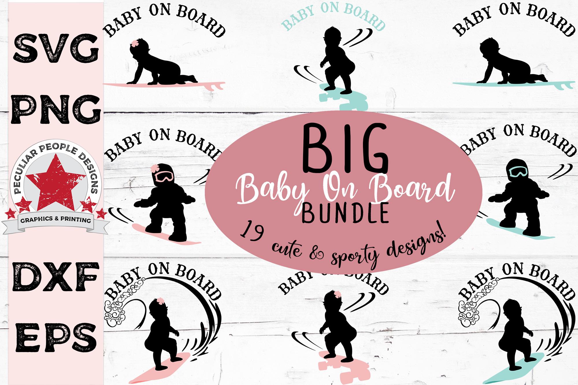 Big SVG Bundle Baby On Board Surfer Skateboarder Snowboarder example image 1