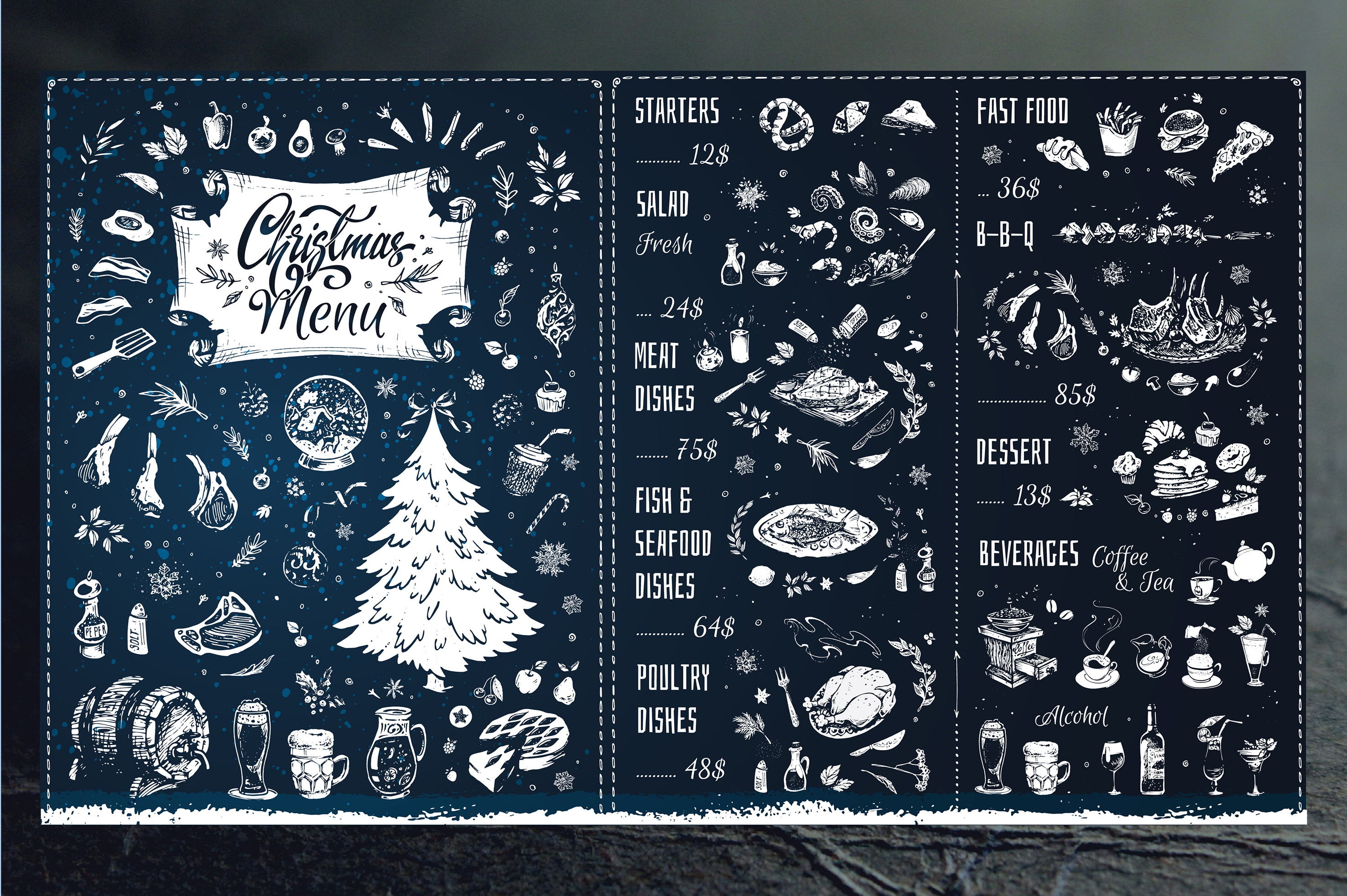 Christmas Menu Design. Hand Drawn Illustrations example image 6