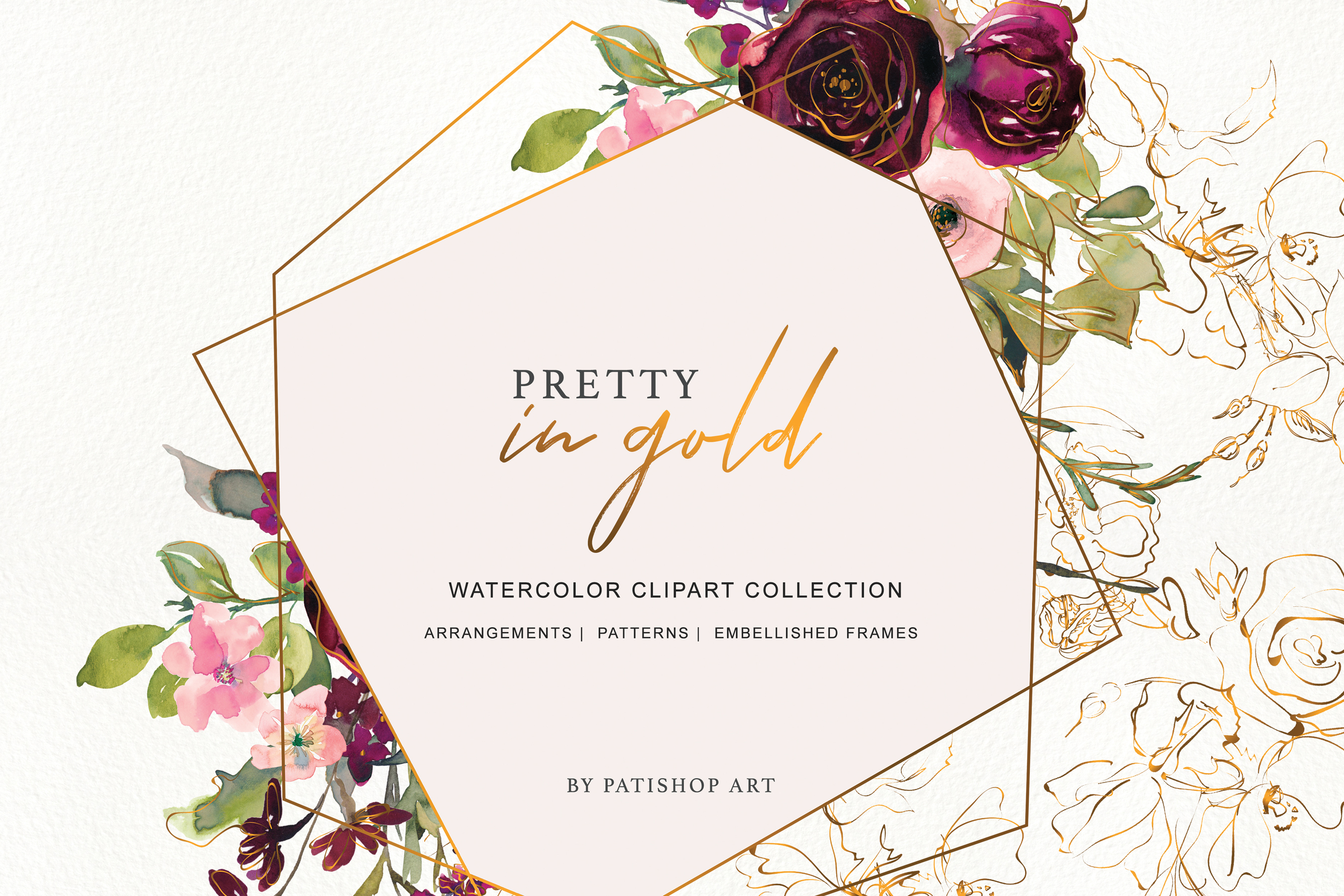 Watercolor Burgundy Blush and Gold Floral Bouquet Clipart example image 2