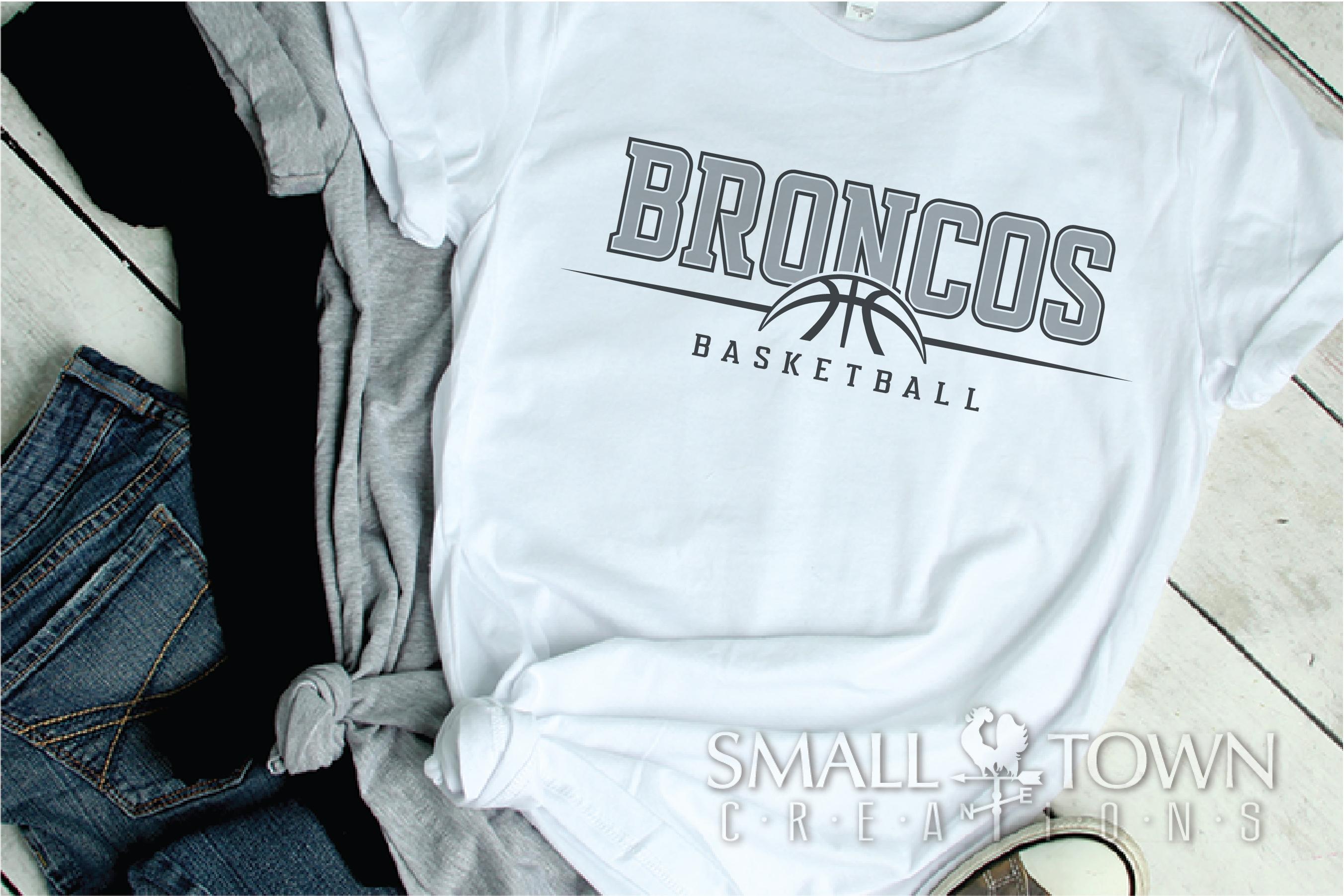 Bronco Basketball Logo, Team, Sports, PRINT, CUT & DESIGN example image 2